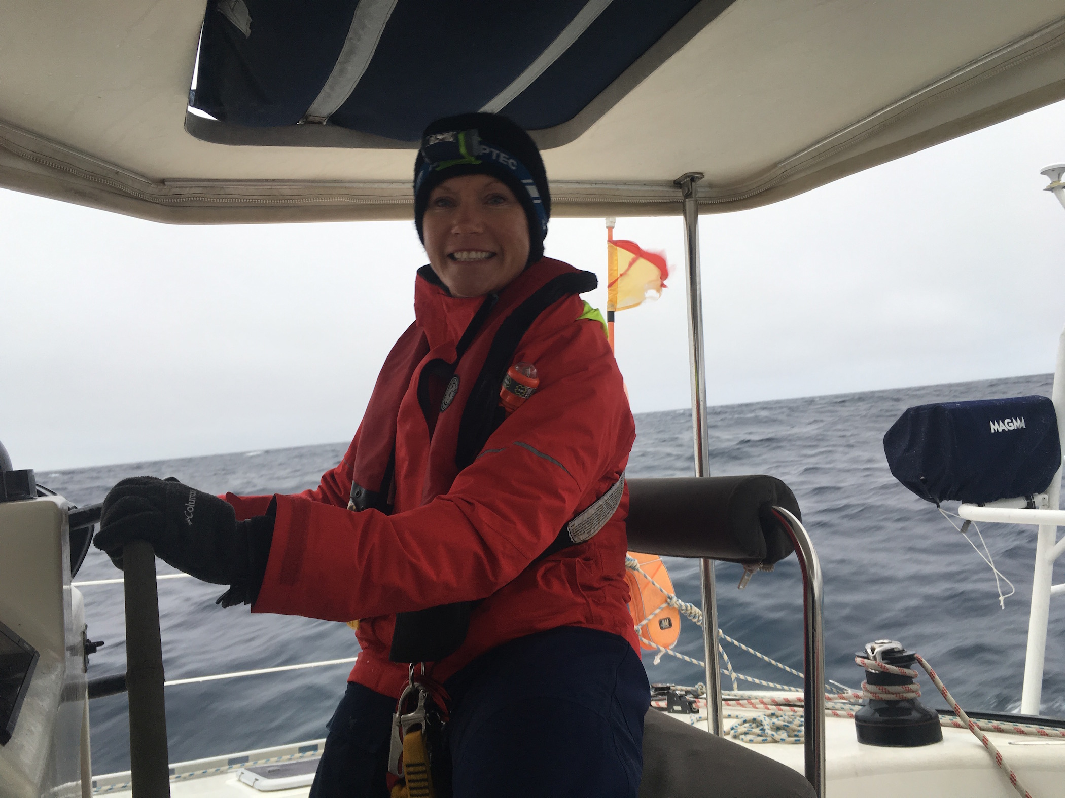 Annie at the helm!  (lookout)