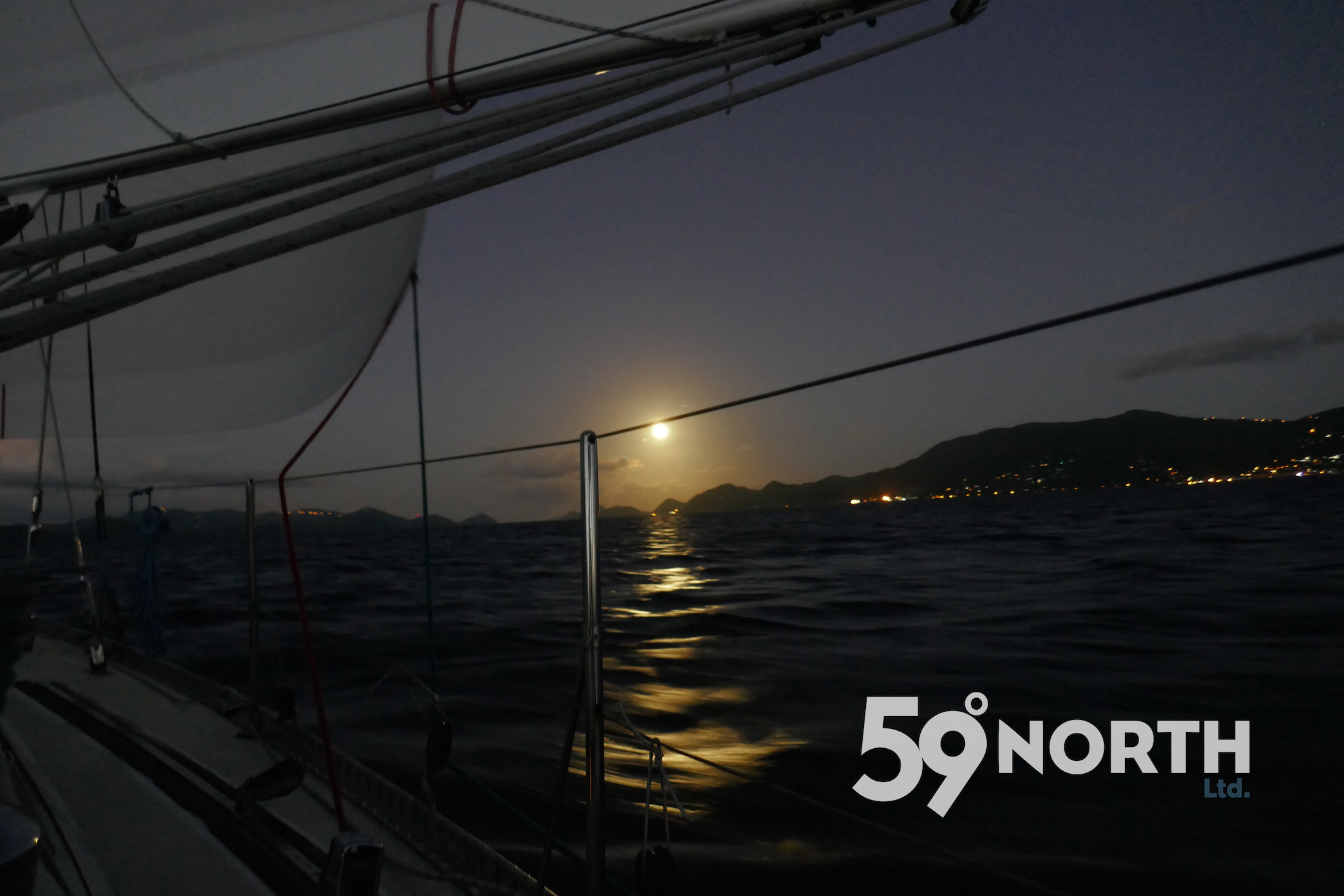 The moon was setting over Tortola as we sailed up the Sir Frances Drake Channel