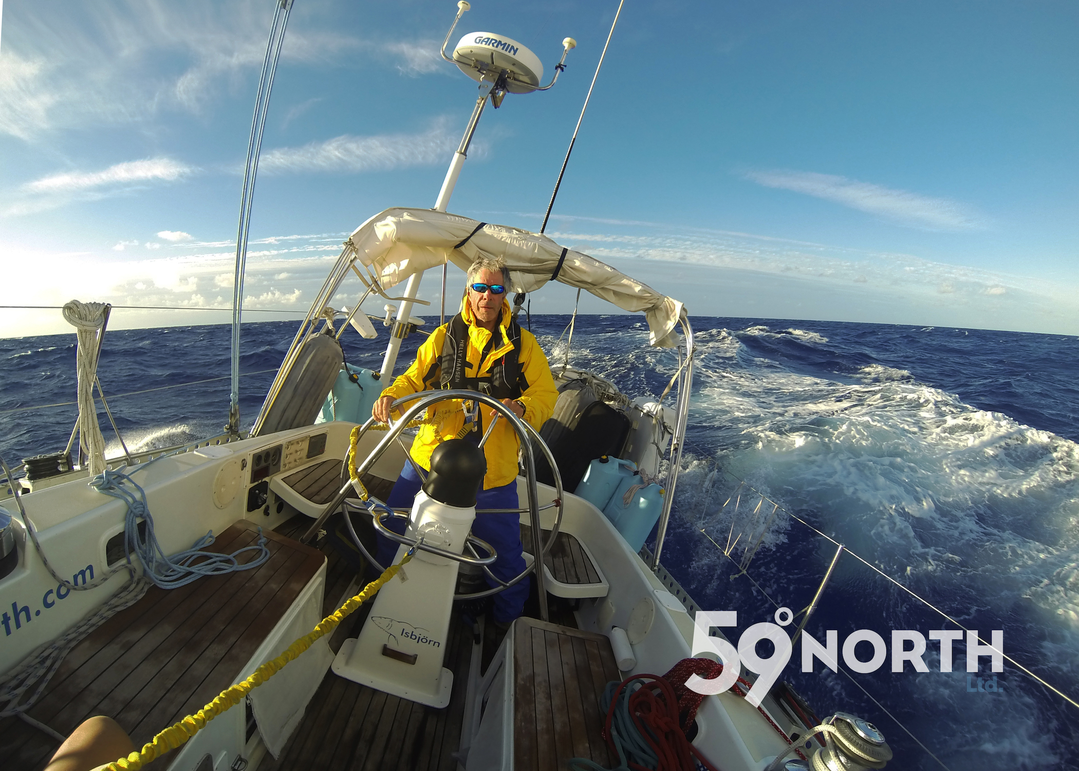 Crew Bruce steering in some impressing swells!