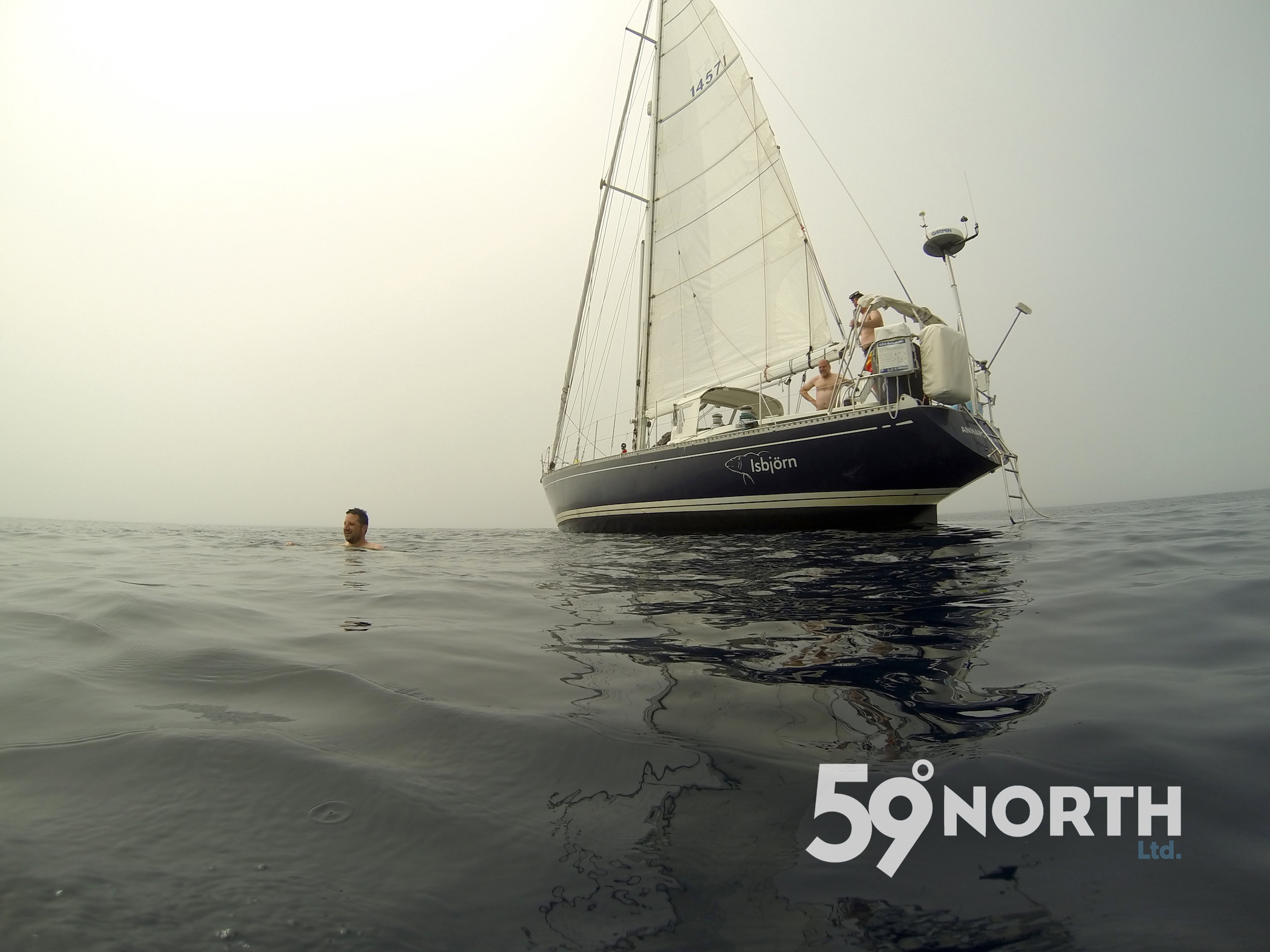 Foggy swim on the way from St. Johns to Lunenburg! Just after the swim, the fog lifted, the wind picked up and we sailed under spiknnaker all the way back to Lunenburg. Aug. 2016