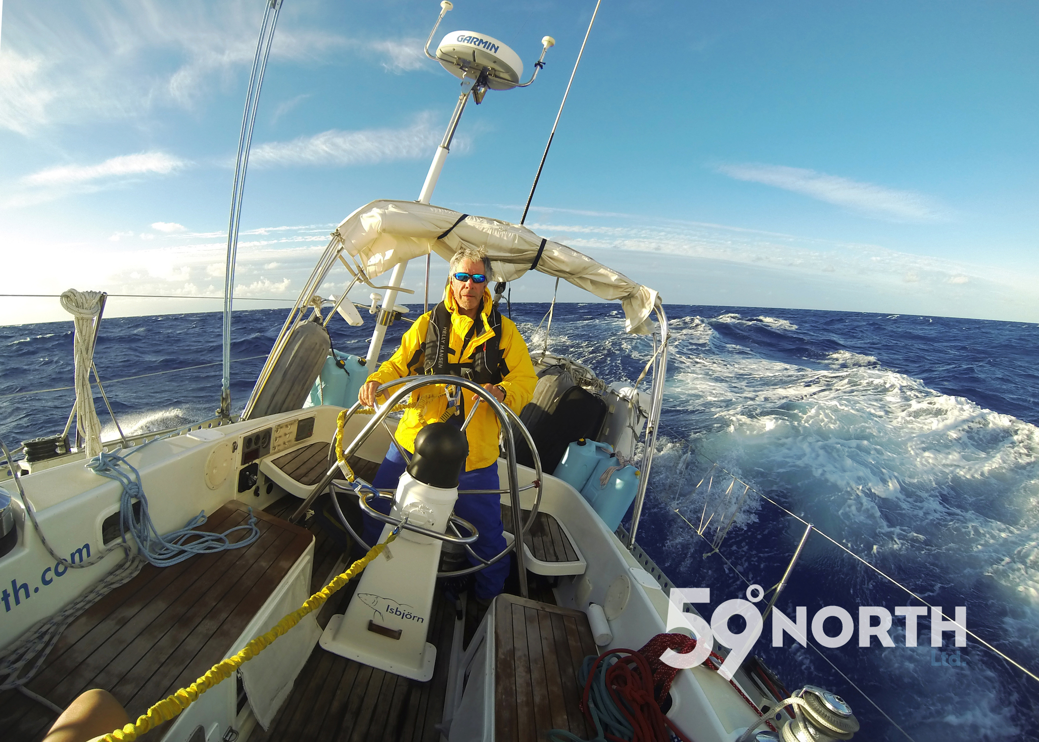 Crew Bruce at the helm, great sailing south to the Caribbean in the C1500! Nov 2016