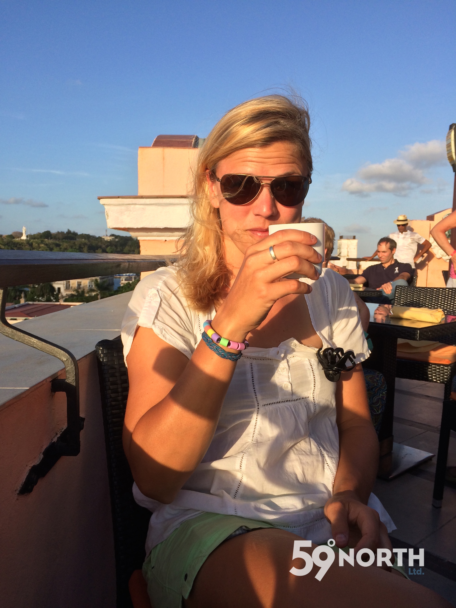 Sipping coffee on a roof top in havana, Cuba. April 2016