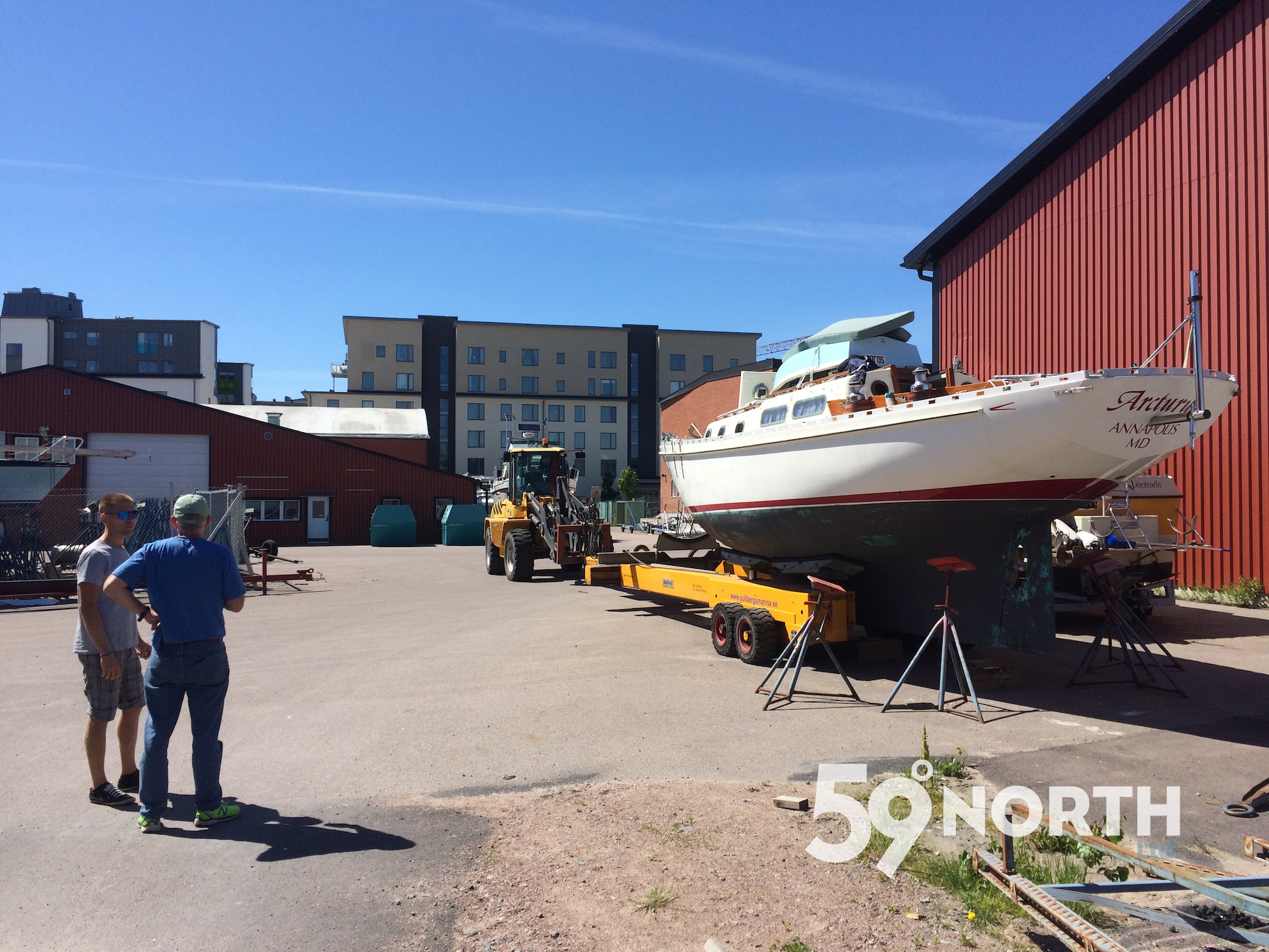 The new owner of Arcturs get to see her for the first time. We flew over to Sweden to help him launch and rig her. June 2016