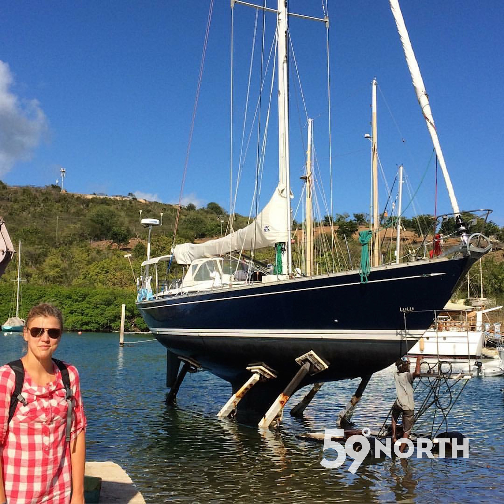 Isbjorn getting hauled at Antigua Slipway, hauling the boat out in new places always makes me nervous! March 2016
