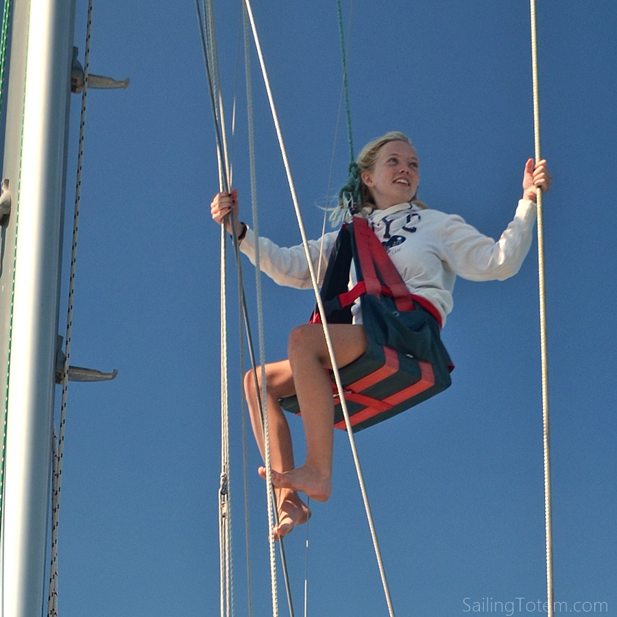 Mairen aloft on Totem - www.sailingtotem.com - 'On the Wind' Sailing Podcast: Episode #175