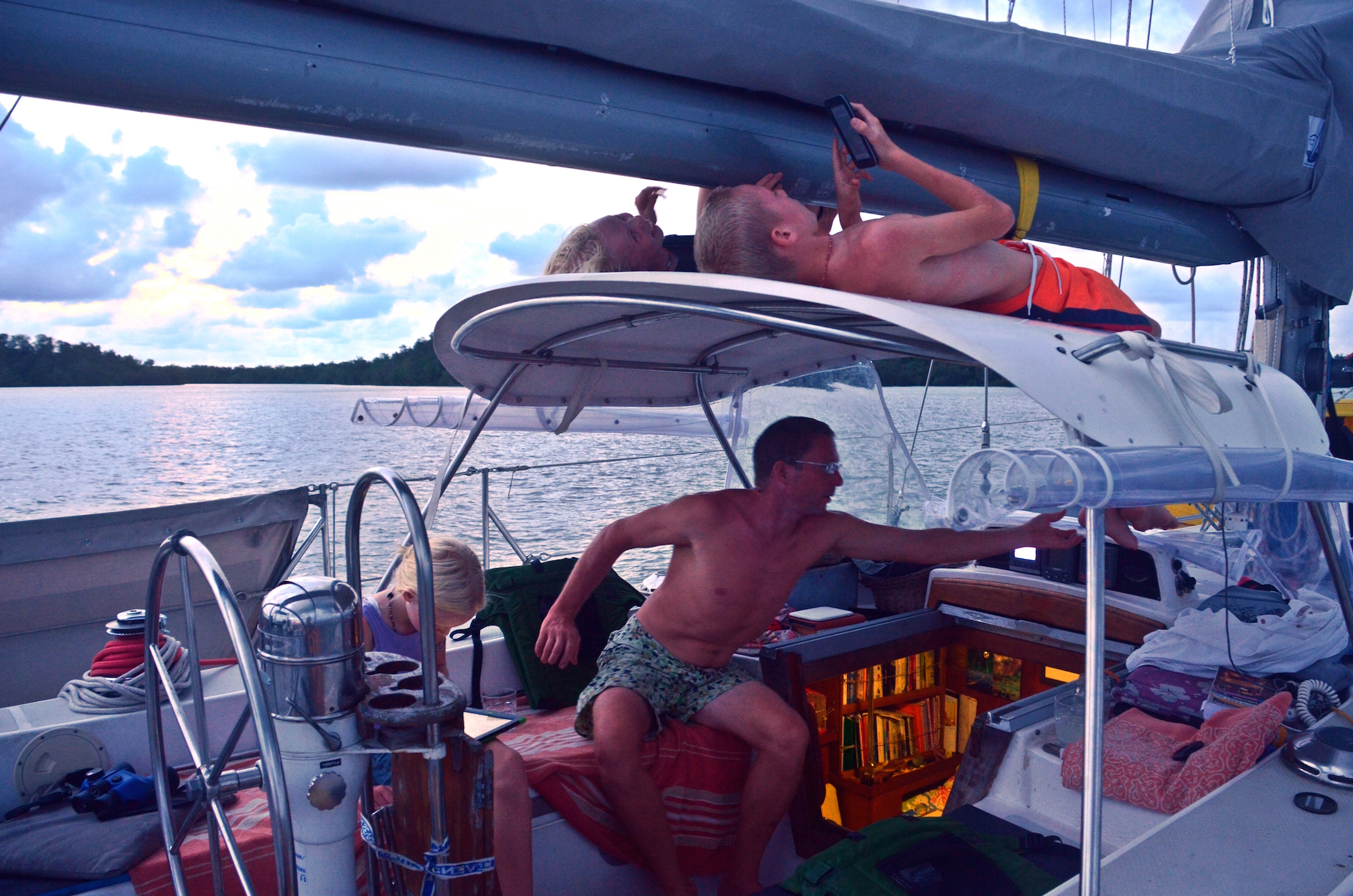 Just chilling out on Totem - an evening at anchor during transit up the Malay peninsula - www.sailingtotem.com - 'On the Wind' Sailing Podcast: Episode #175
