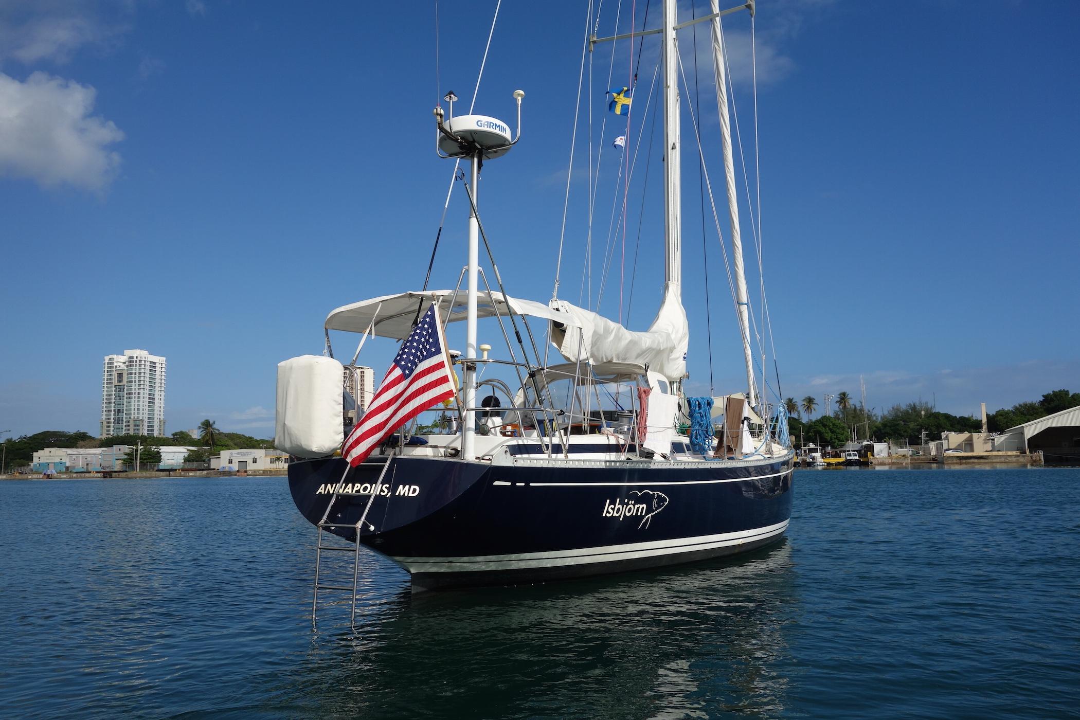 Isbjorn  anchored in the harbor of San Juan, Puerto Rico.