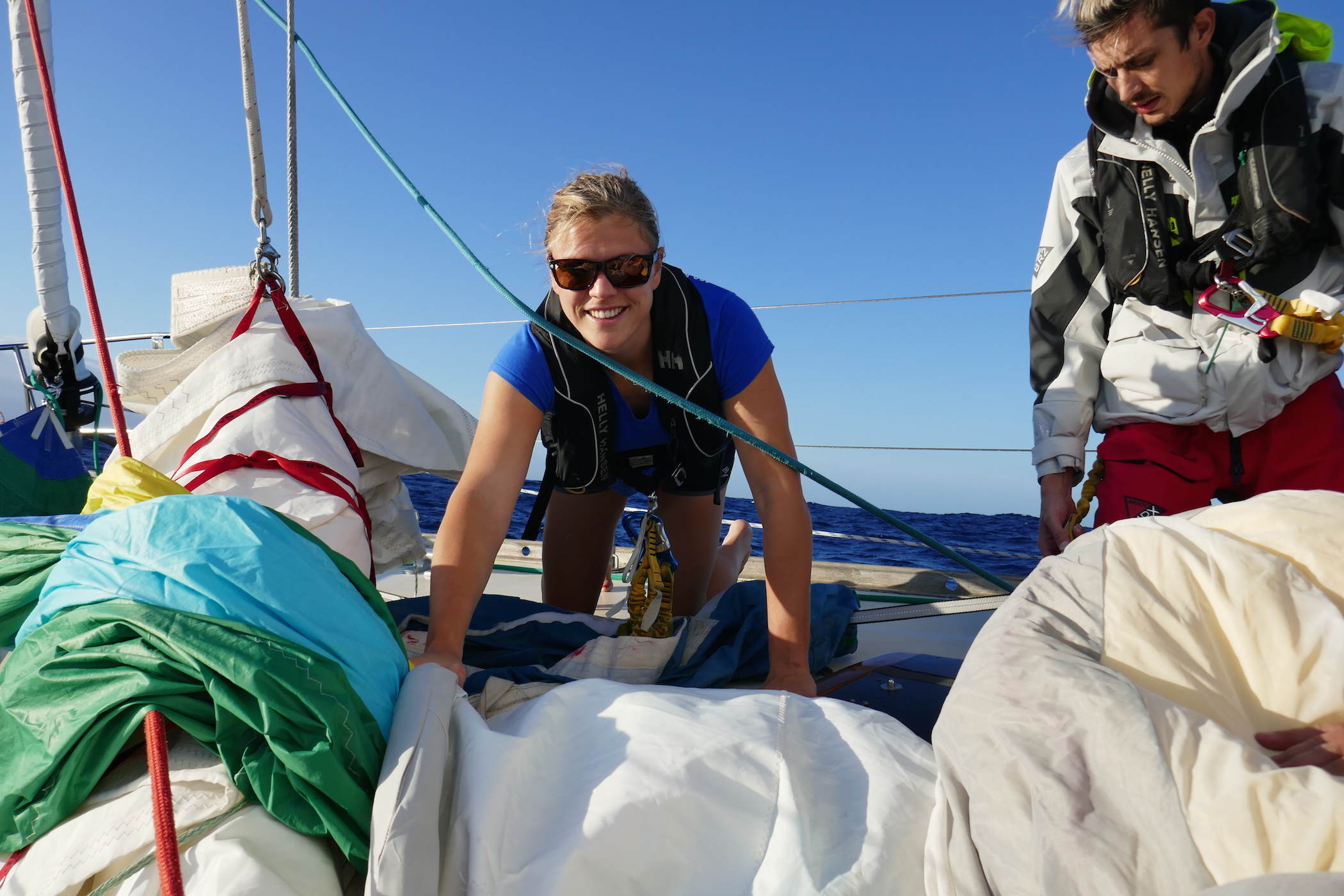 Spinnaker sailing on Isbjorn on the way to the BVI from the Chesapeake. November 2016