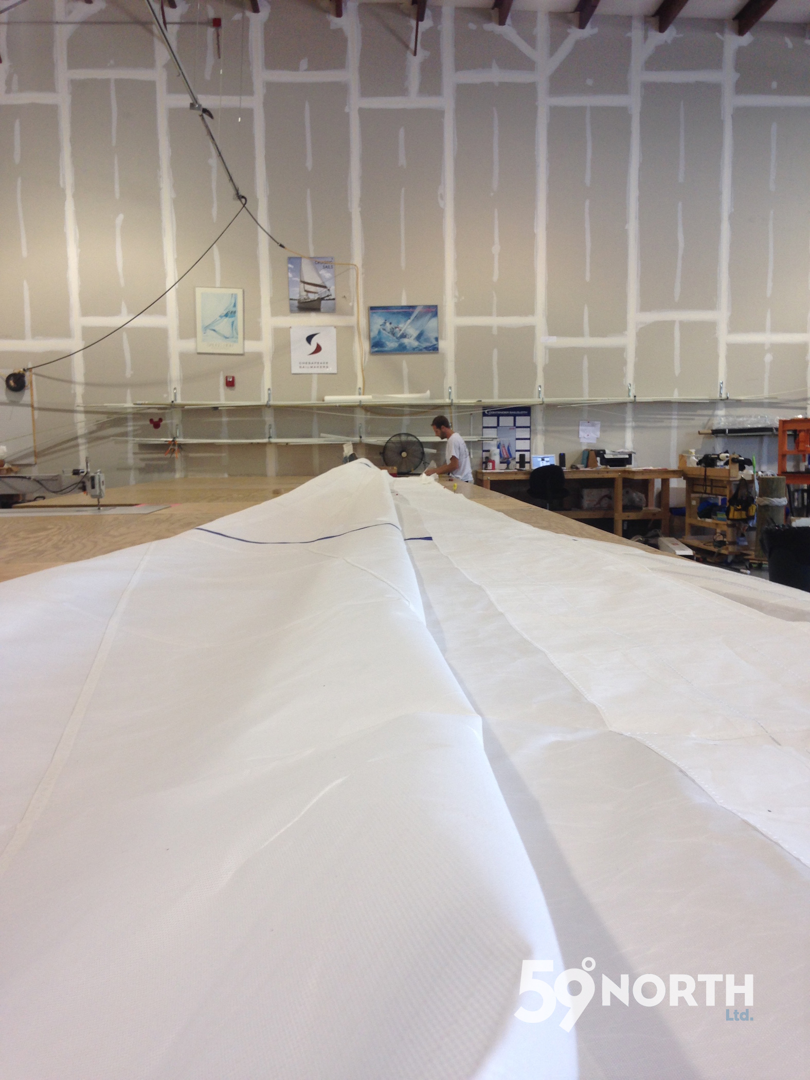 New genoa getting fitted at Chesapeake Sailmakers in Annapolis! Aug. 2016