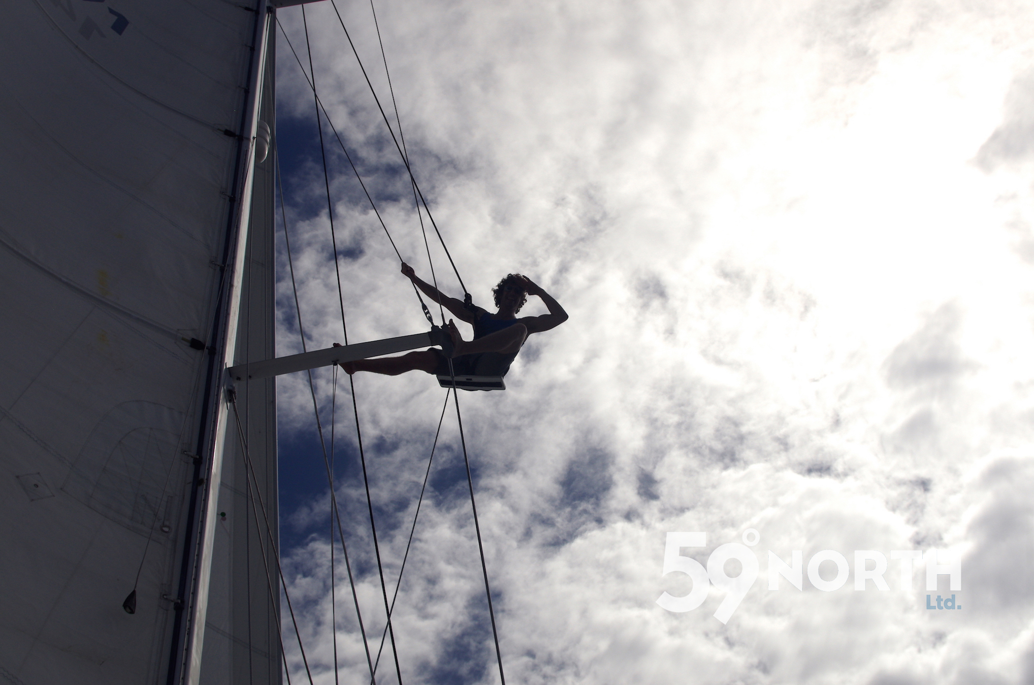 Our friend Clint up the mast! On the way to St. Martin Feb 2016