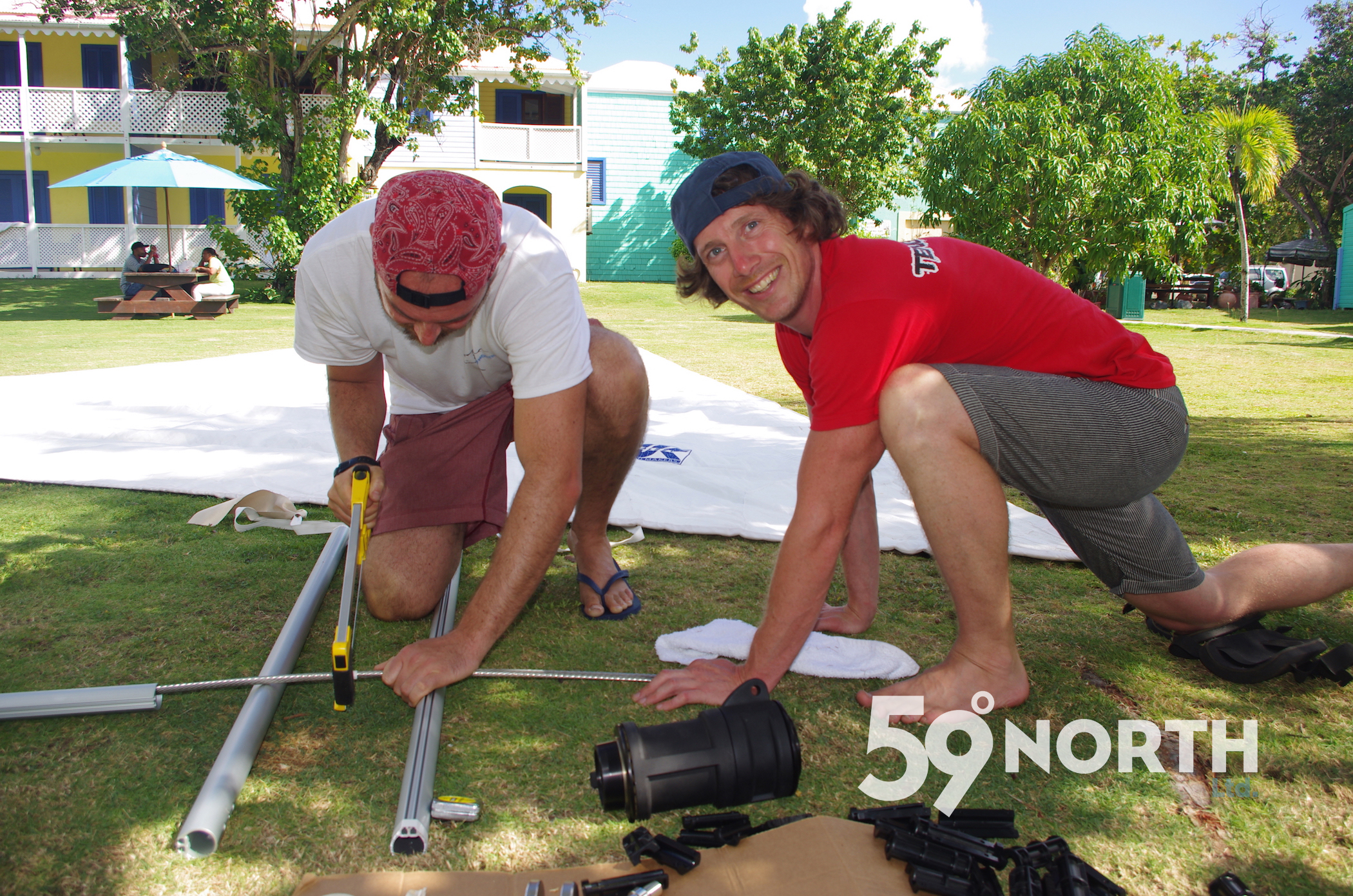 We had a brand new Harken furler sent to the BVI. Crew Ryan and Clint putting it together. Amazingly it worked on the first try! Jan 2016
