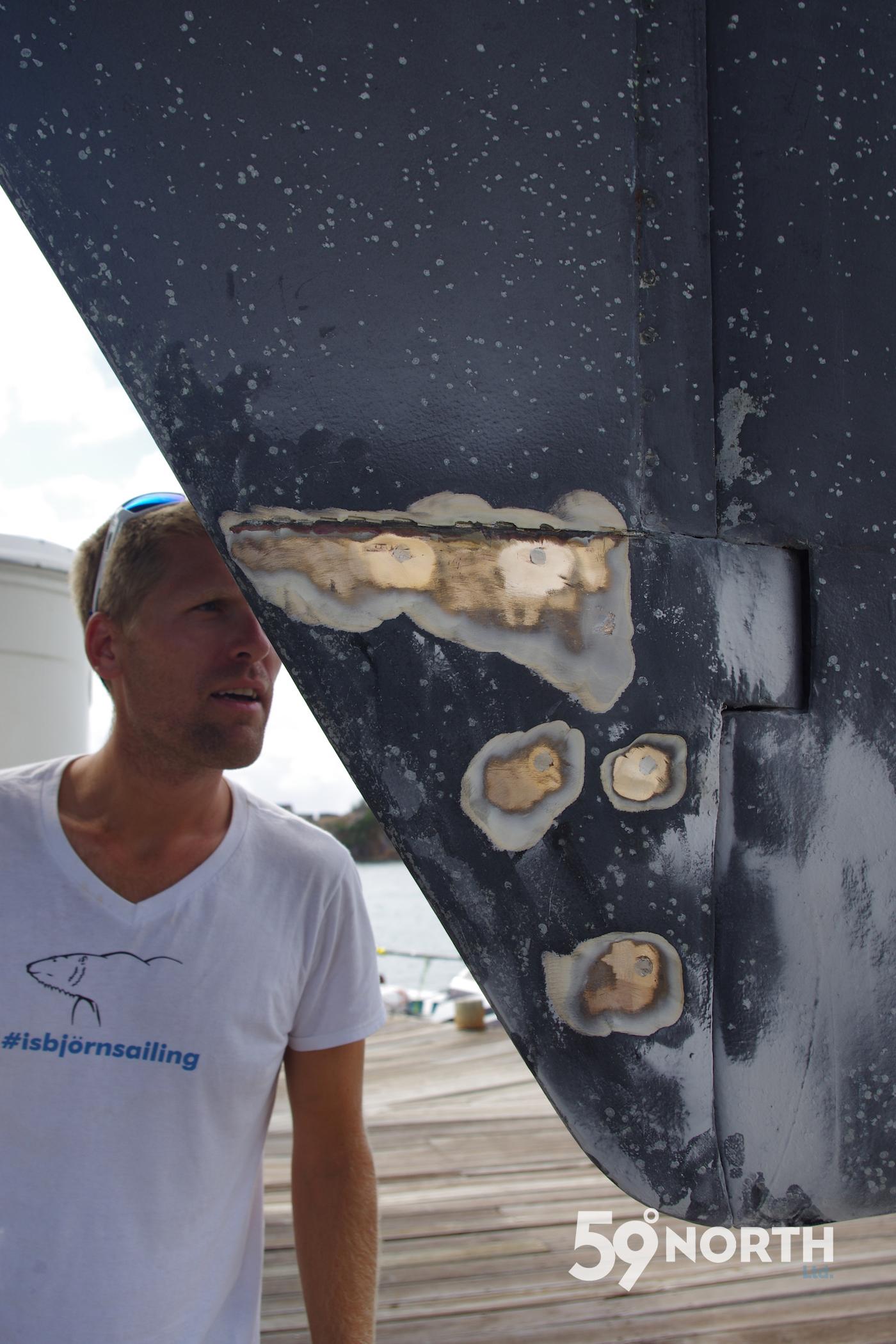 Reparing the rudder at Antigua Slipway. March 2016
