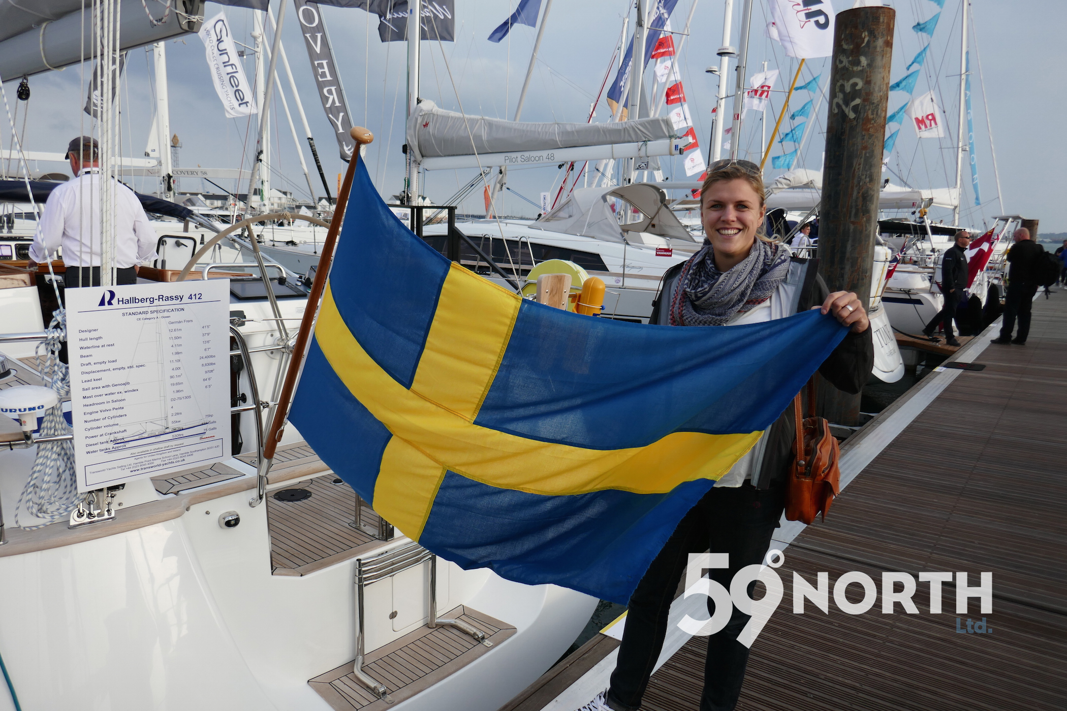 Of course lots of Swedish boat at the Southampton Show! Mia happy to see her flag! Sept. 2016