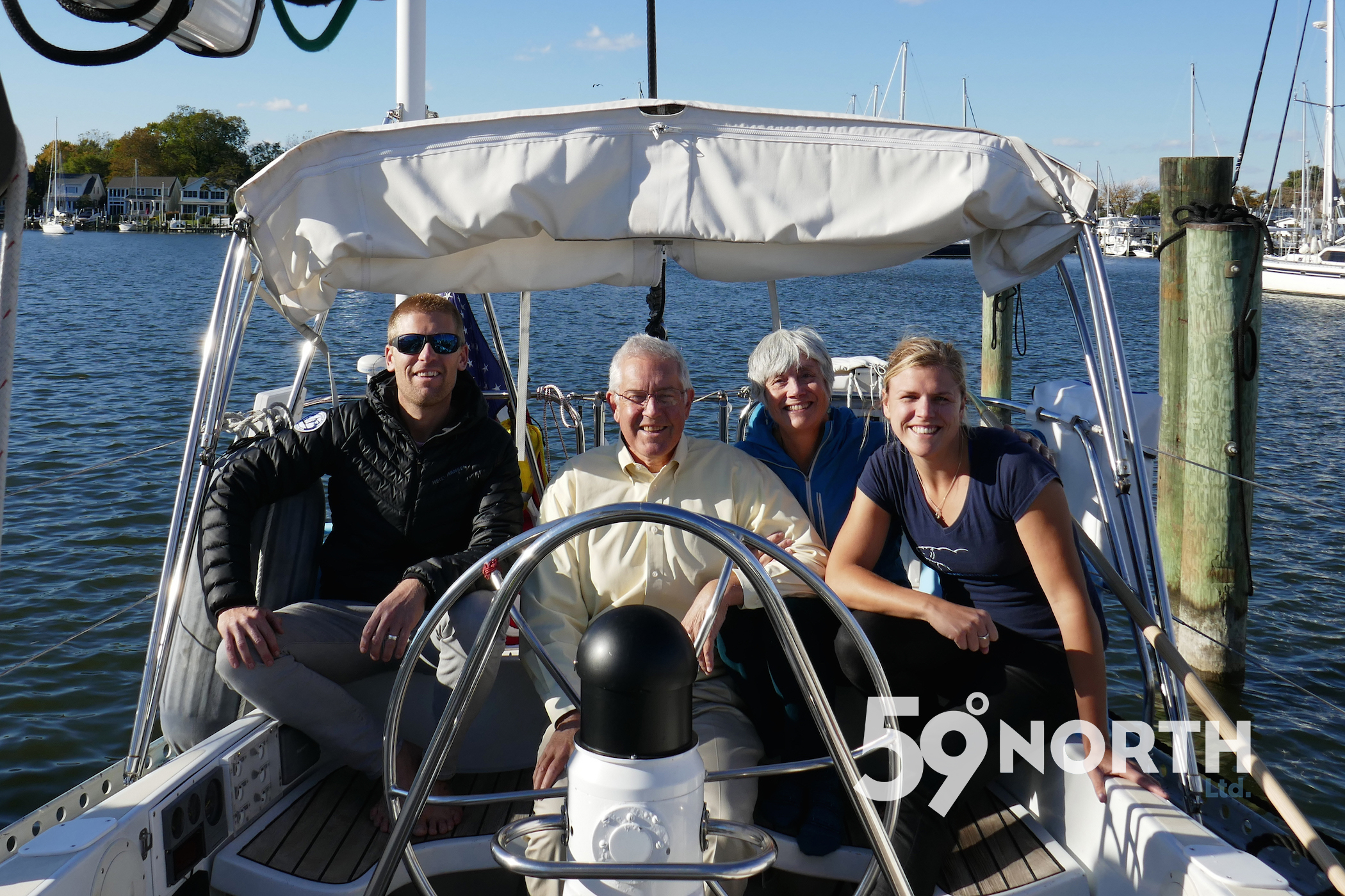 Peter & Cathie Trogden from Weems & Plath came and checked out  Isbjorn  before we left Annapolis. Weems & Plath is now the presenting sponsor for 'On the Wind' podcast for the full 2017!