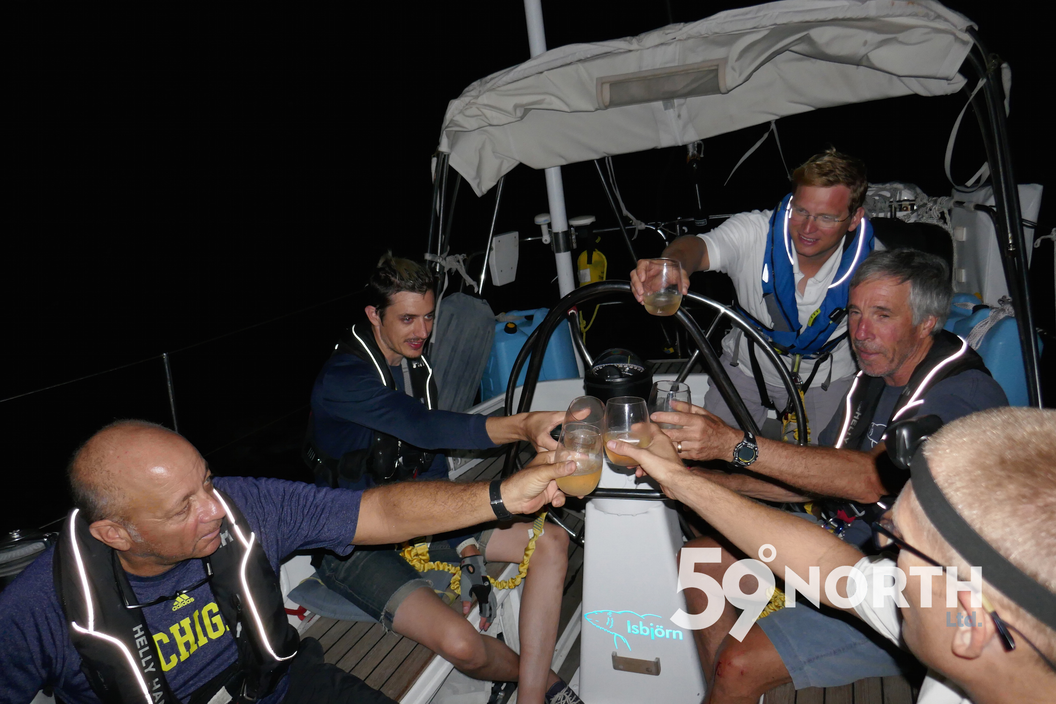 Celebrating with a cold glass of bubble after crossing the finish line in C1500, from the Chesapeake to the BVI! Nov. 2016