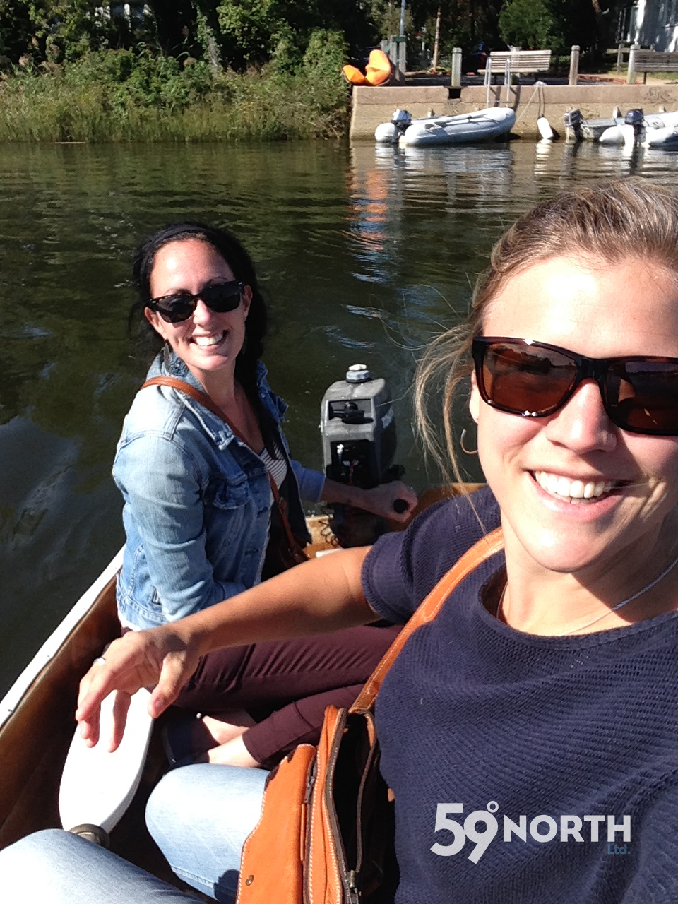 BC gang heading back to our boats on anchor, Mia and Rachel in Satori's dinghy. October 2016