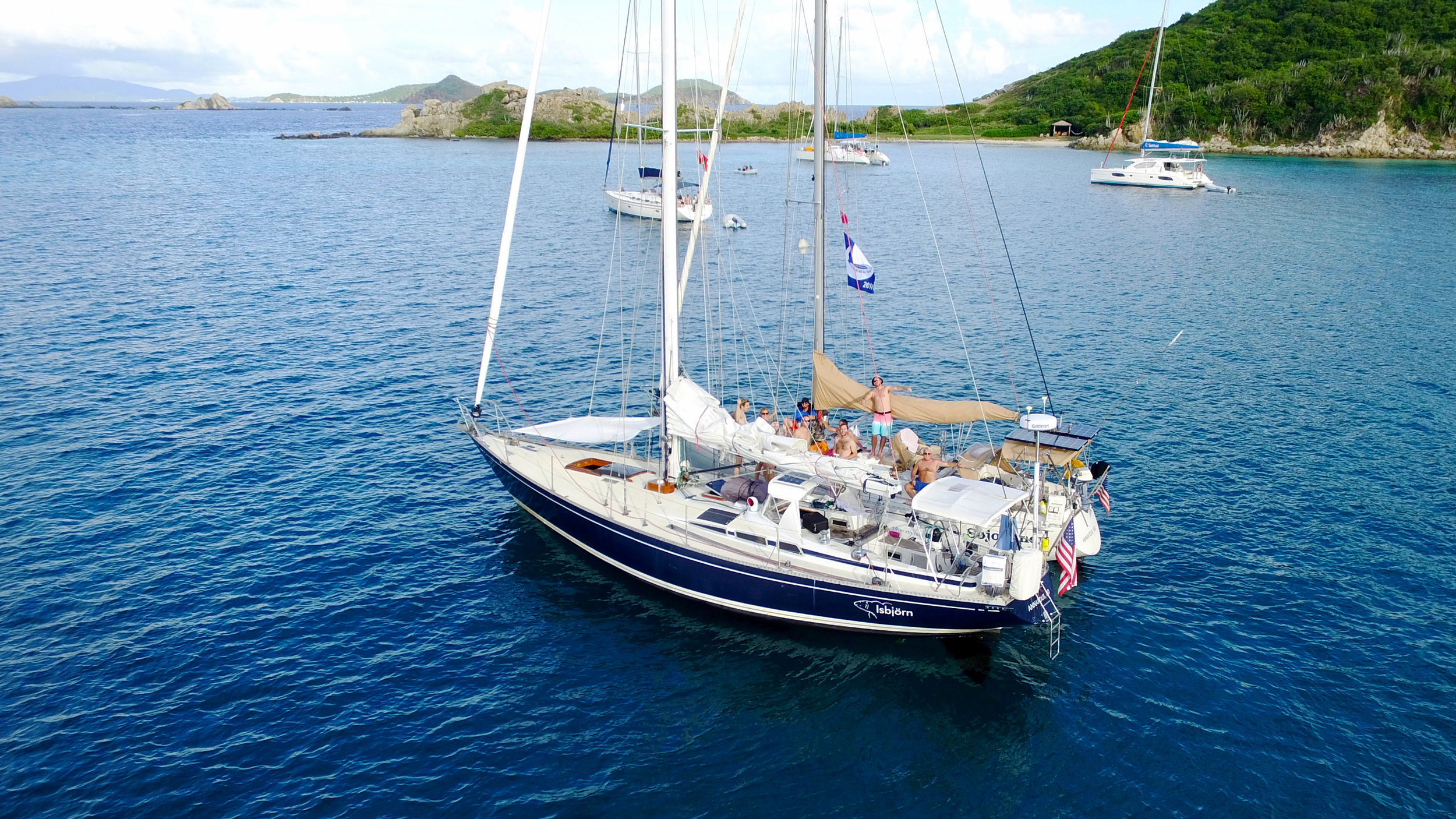 Isbjorn & Sojourner (Andy's Dad's boat) rafted up in the BVI.