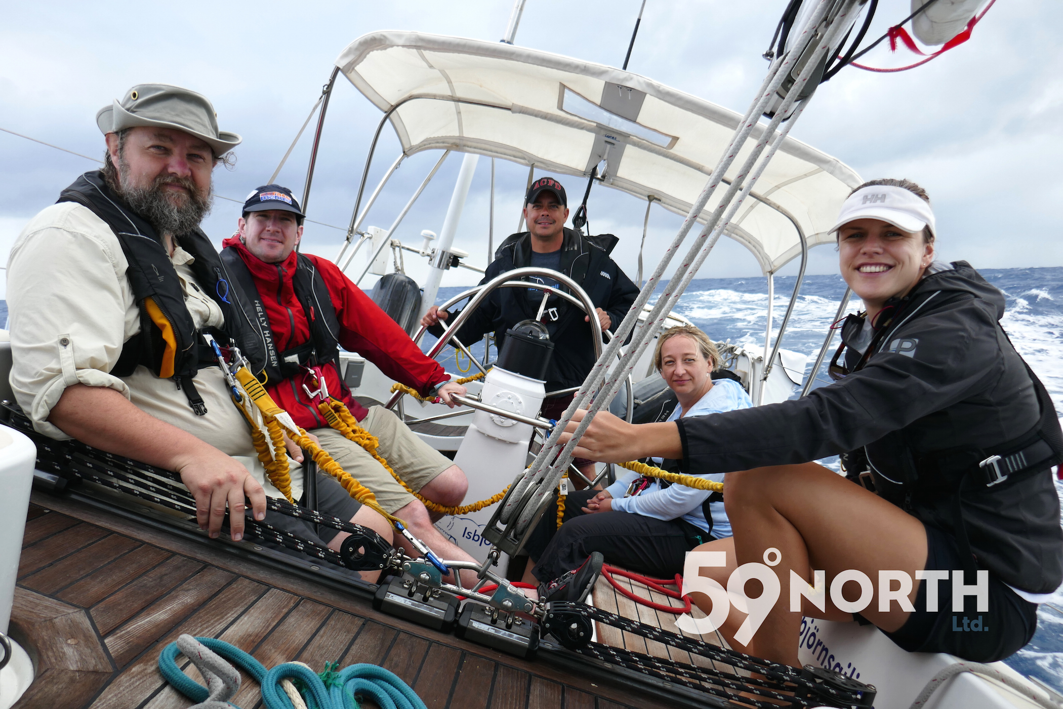 First trip of the year! Upwind from the BVI to Antigua! crew Kevin at the helm.