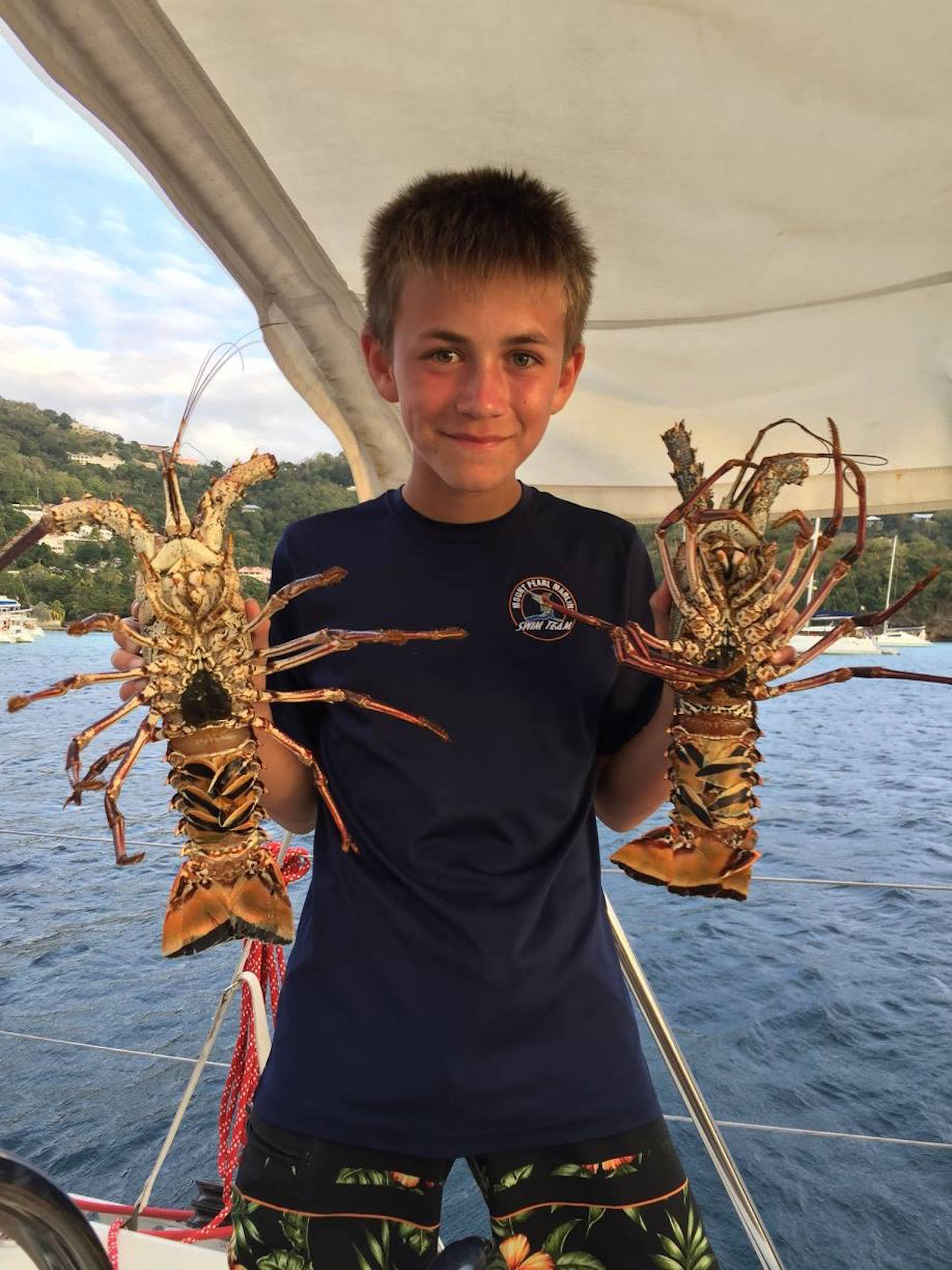 Fresh lobsters in St. Vincent. Photo: Calla Butler