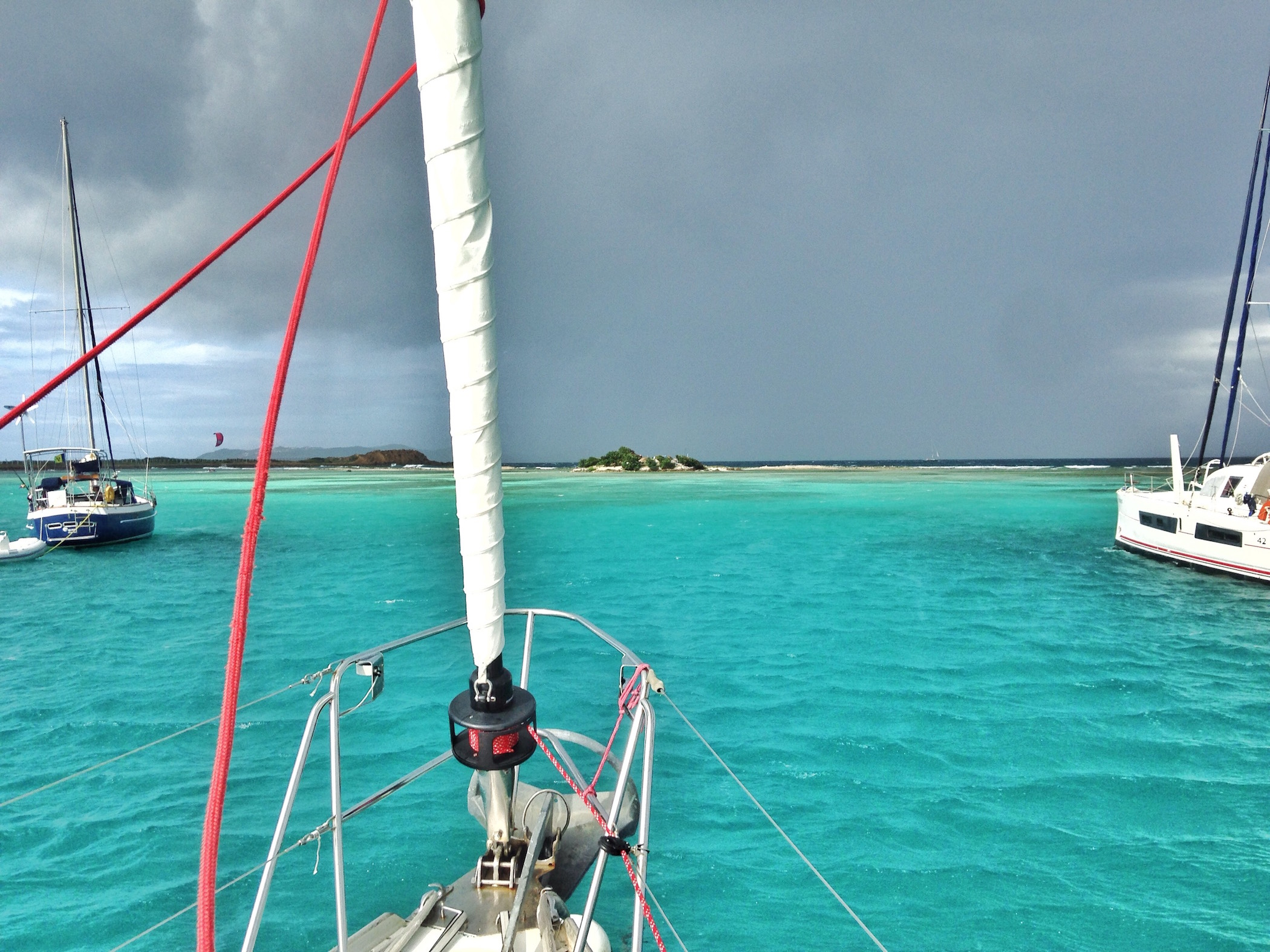 Anchored in Clifton, Union Island. Squally day!