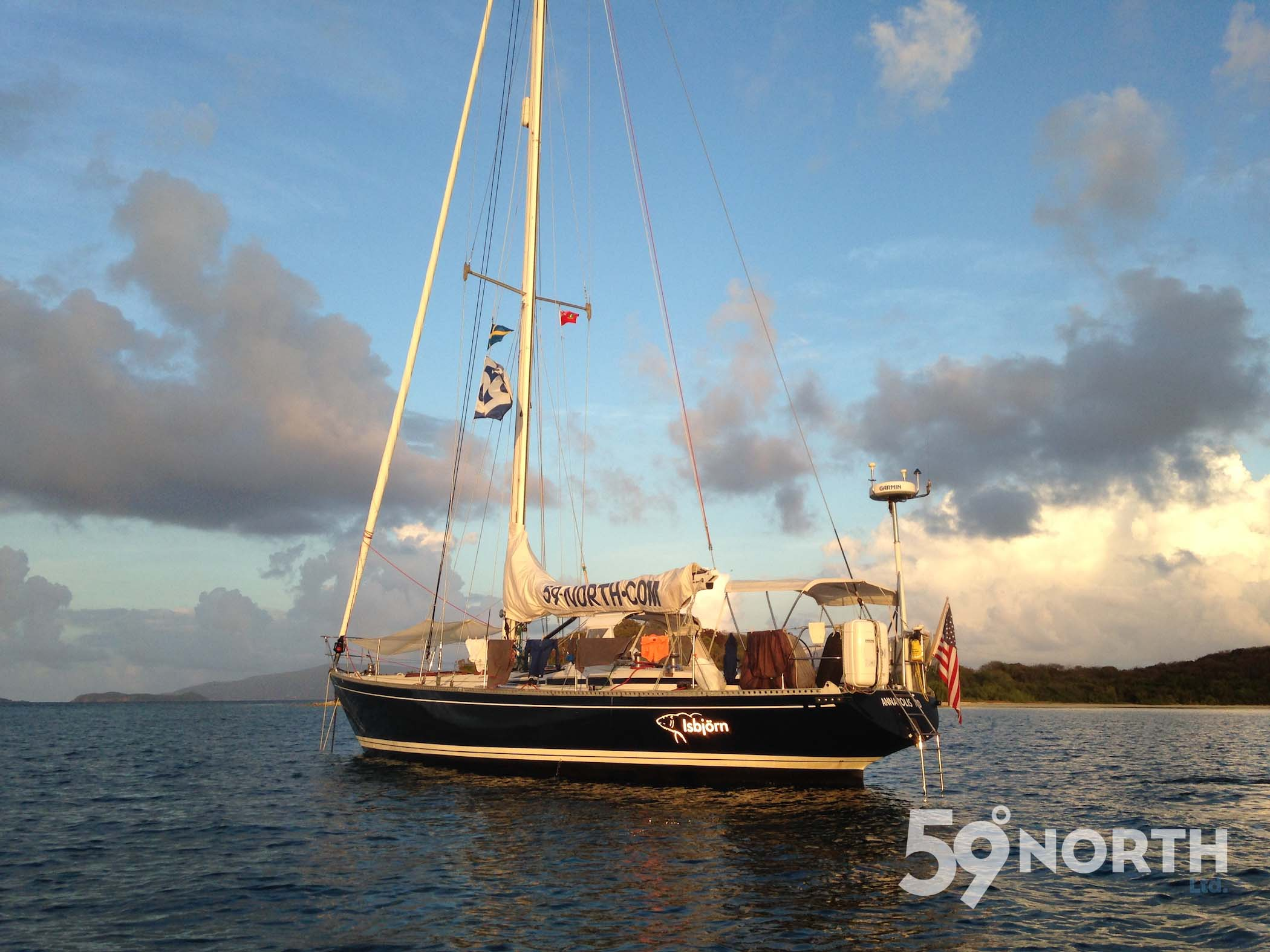 Isbjorn on anchor in our usual spot in Trellis Bay.