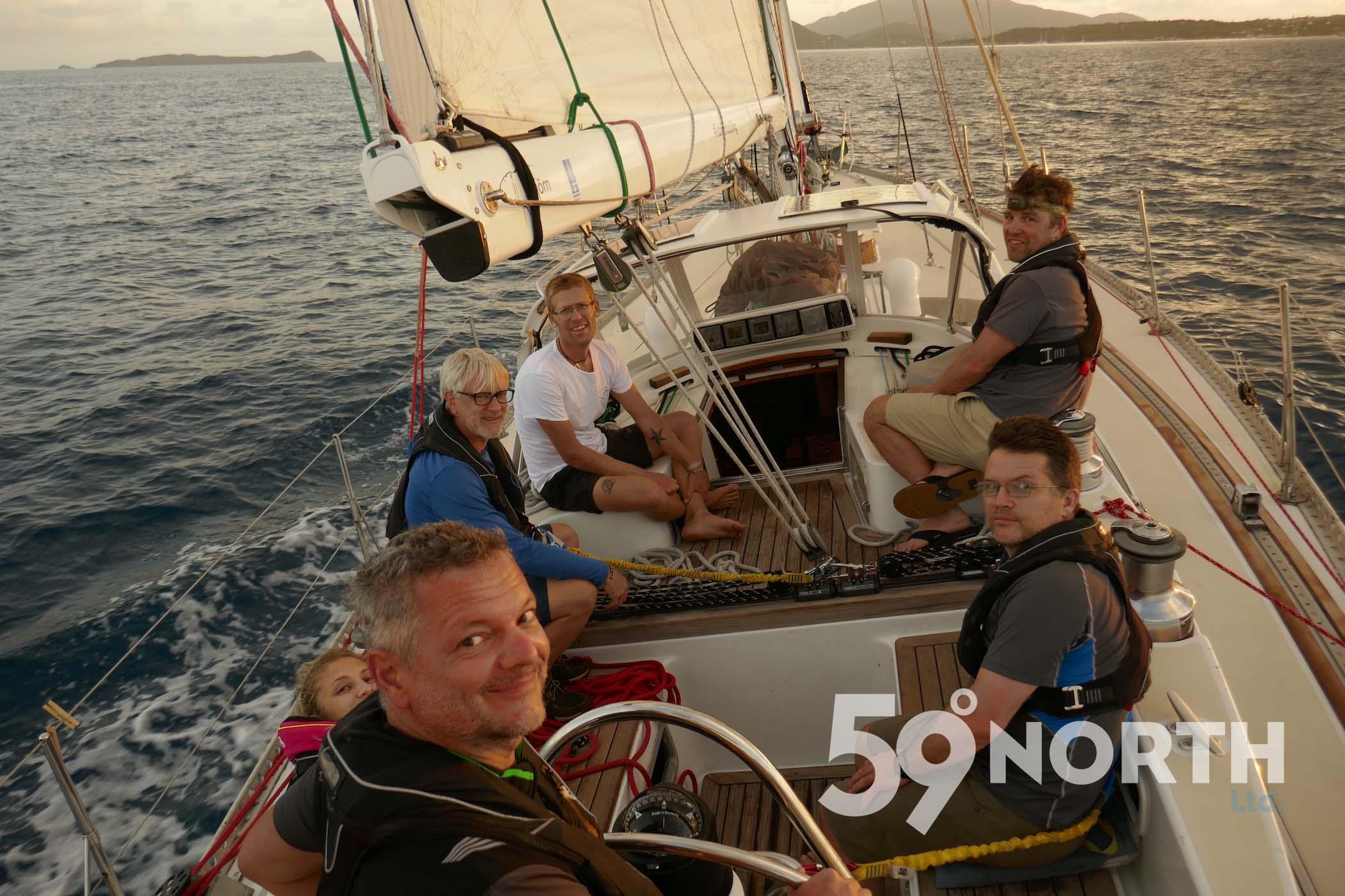 Sailing through 'Round Rock passage' to the BVI justas the sun coming up!