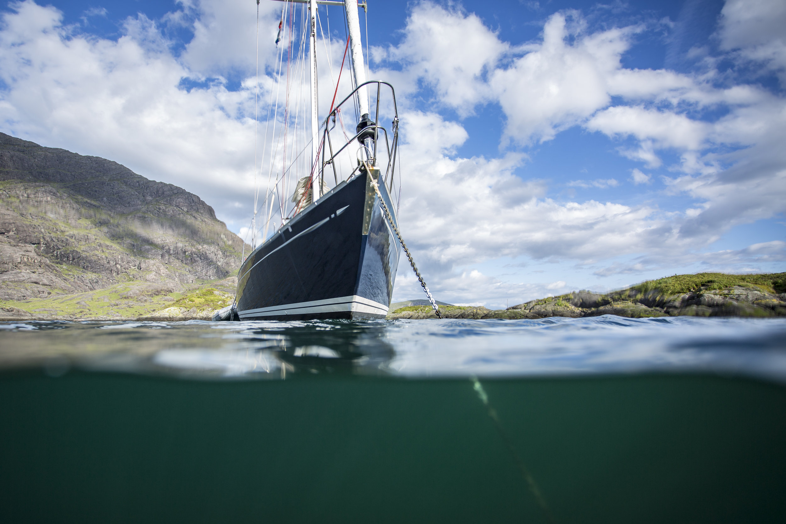 Isbjorn anchored in Loch Scavaig, Isle of Skye, Scotland.