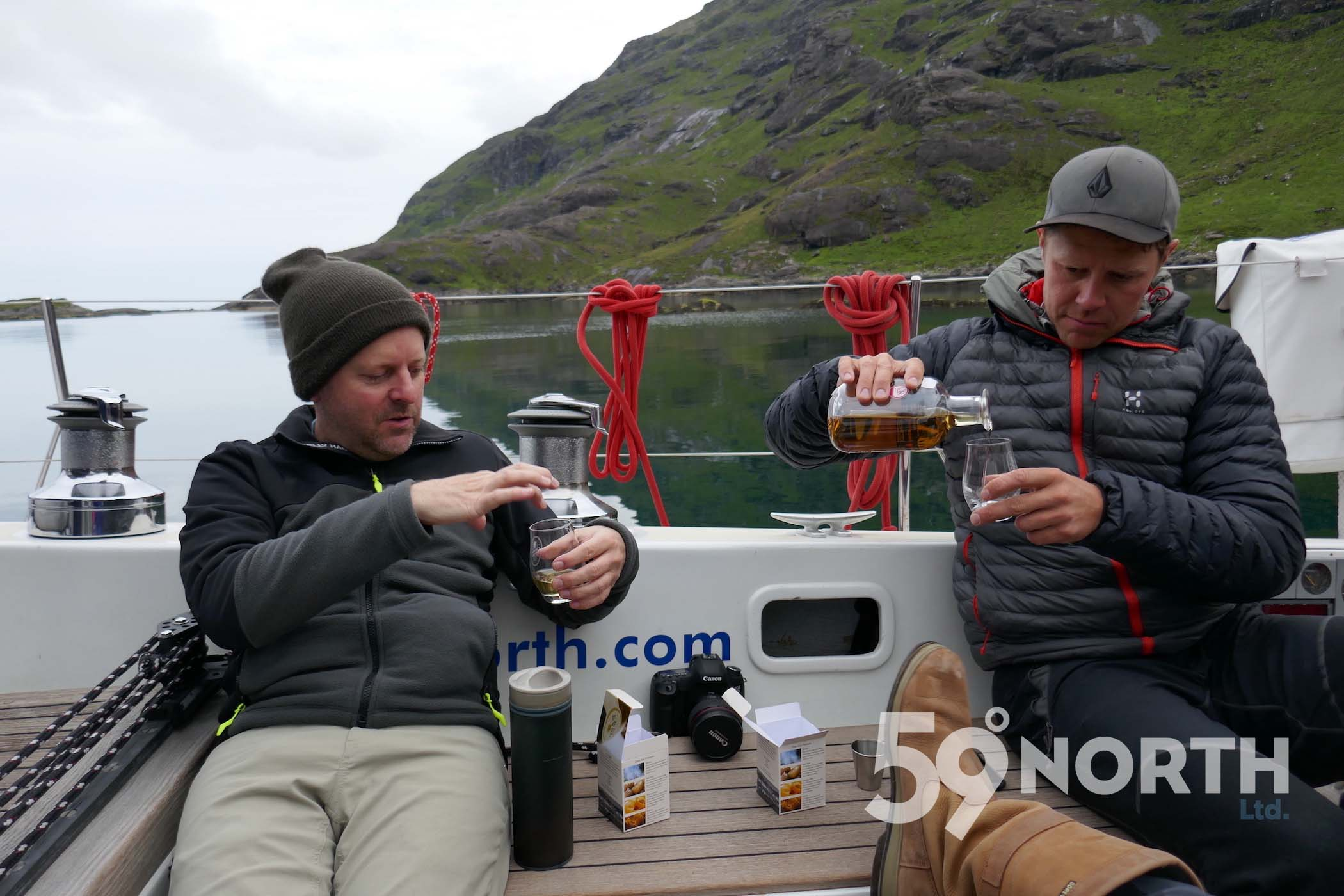 Anchored in the spectacular Loch Scavaig! Whisky cap at night. Leg 8, 2017: Sweden to Scotland 59-north.com