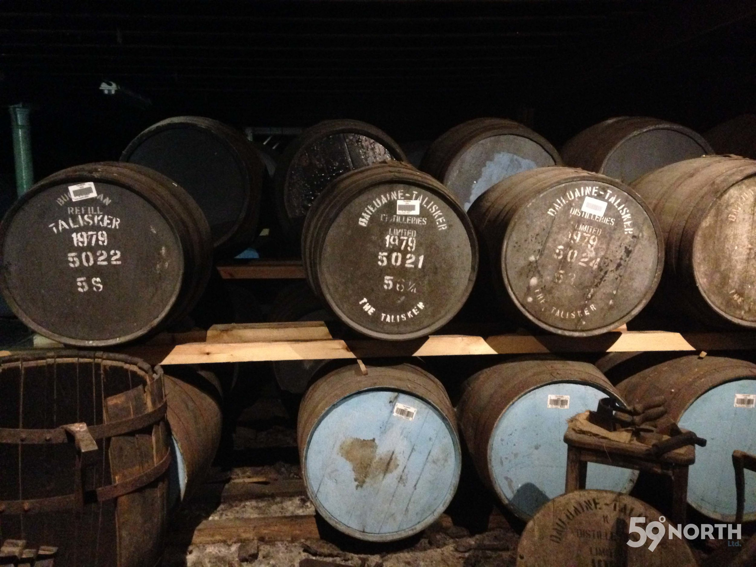 A visit to the Talisker distillery on Isle of Skye! Some very fine old barrels... Leg 8, 2017: Sweden to Scotland 59-north.com