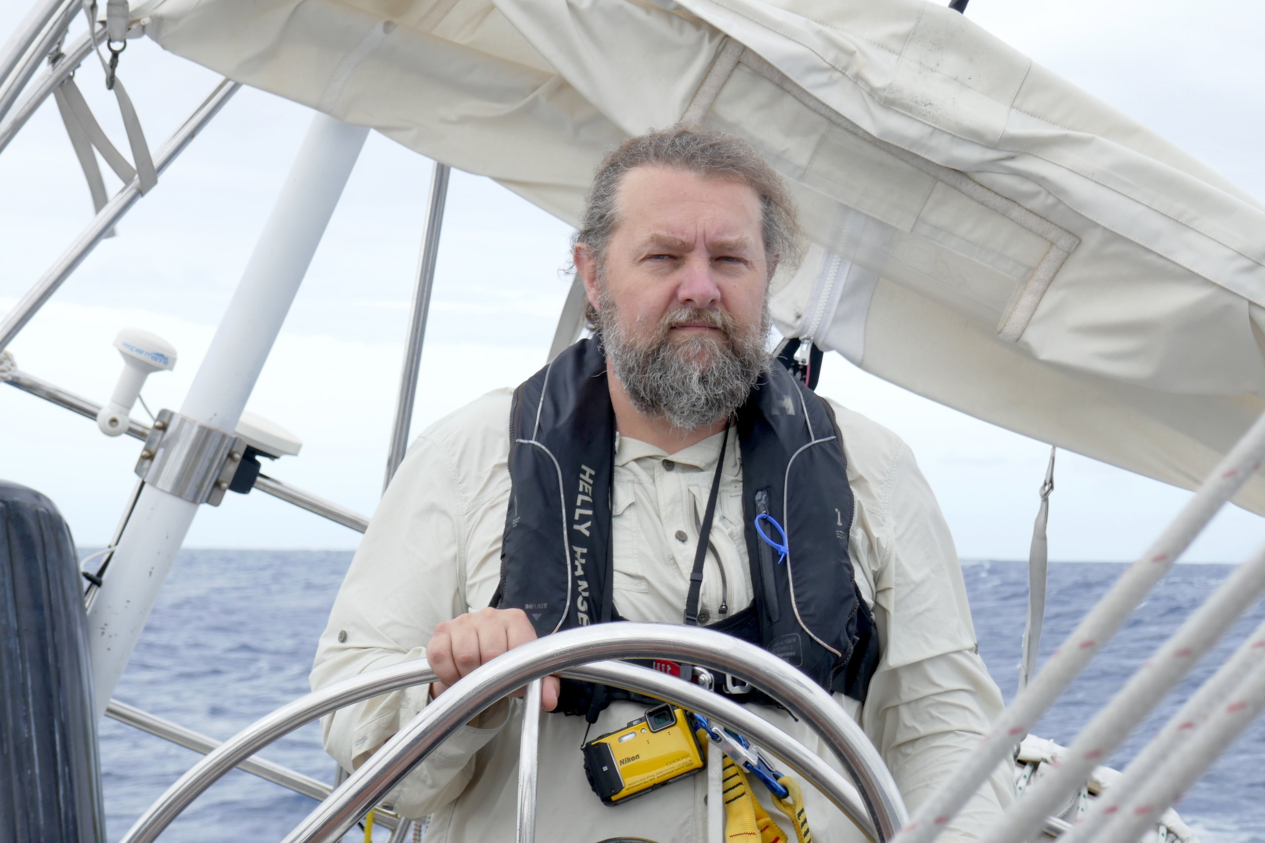 Vlado driving Isbjorn hard to windward en route to Antigua on Leg 1 of 2017.