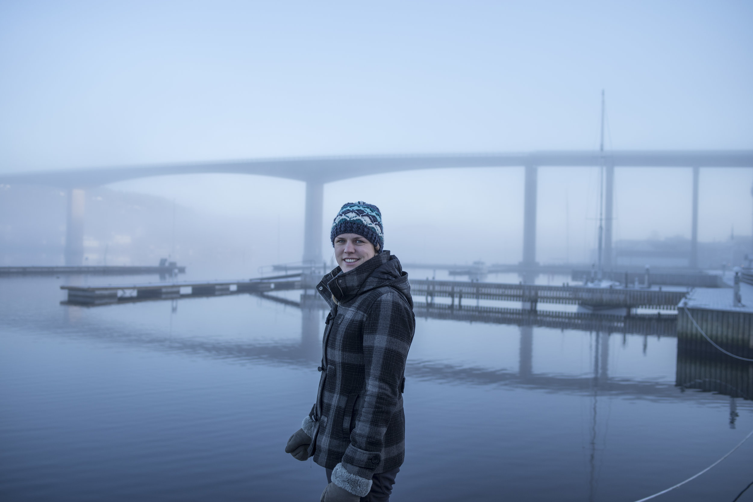 Crispy, foggy morning at Vindö, and an empty harbor.