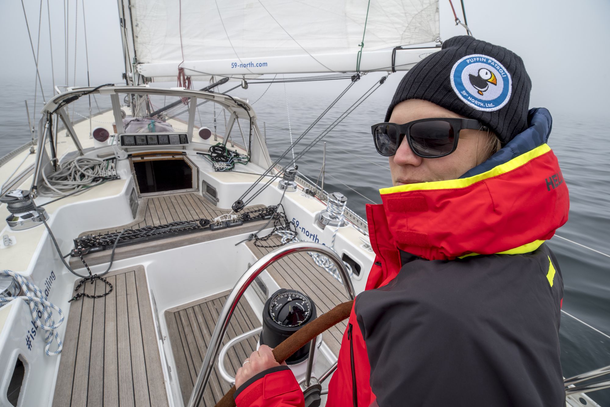Mia at the helm of Isbjorn's first shakedown sail on April 20 in Sweden.