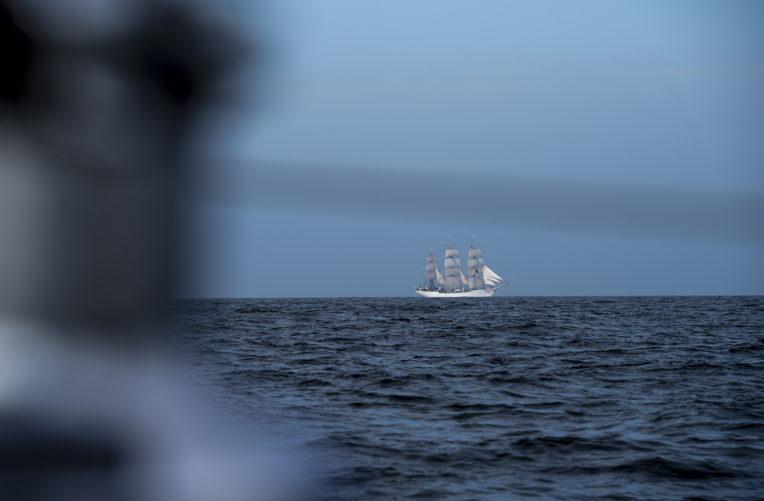 The Norwegian tall ship 'Christian Radich' crossed paths with us south of Norway.