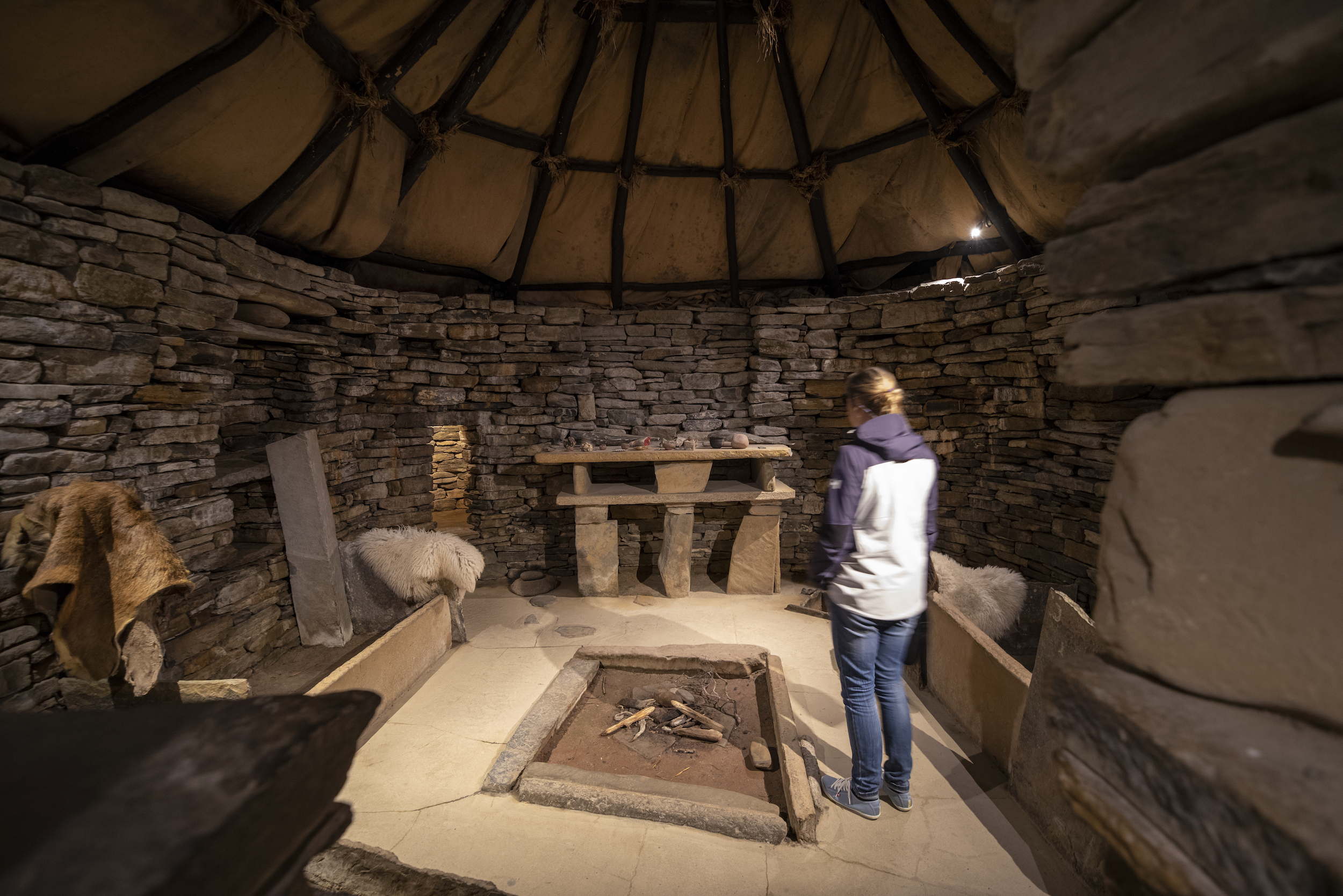 Inside a replica house at Scara Brae. The real houses are too fragile to enter.