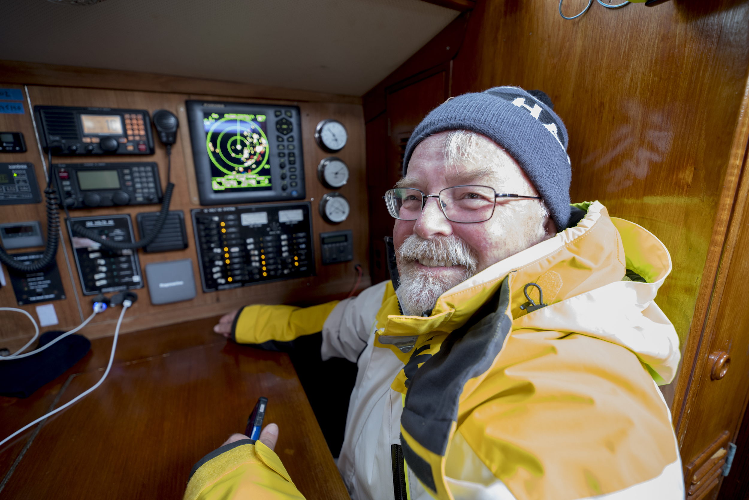 The 'Captain', Andy's Dad Dennis, on RADAR watch in Sweden.