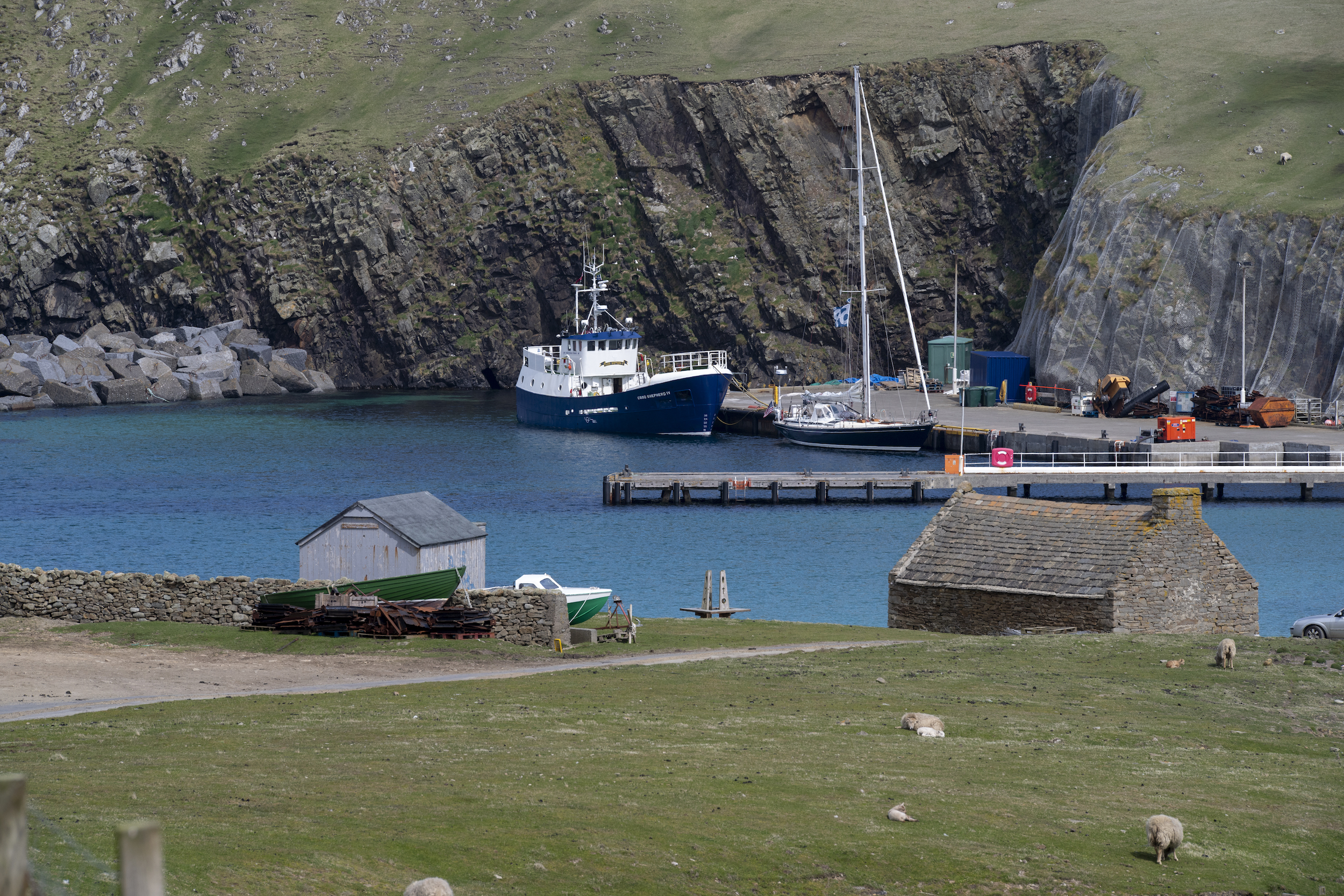 Isbjorn and the 'Good Shepherd,' Fair Isle's link to Shetland, in North Haven.