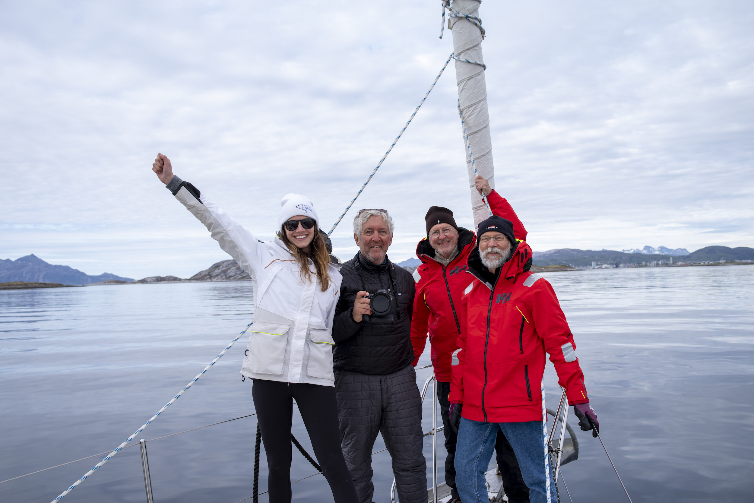 Isbjorn's happy crew on landfall in Norway!