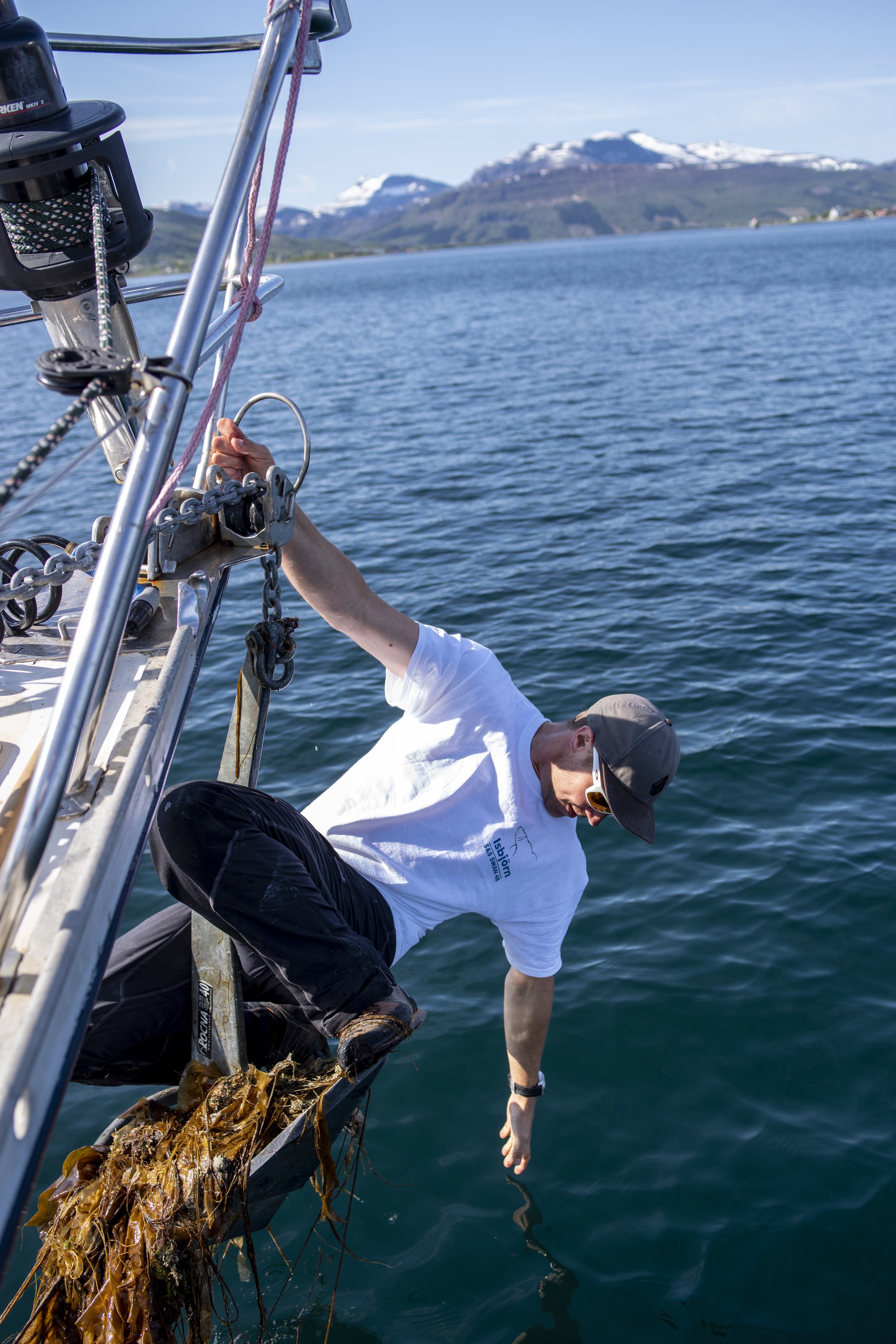 Seaweed in the anchorage! James is multi-talented - as a lifelong climber, he was well-suited to this task!