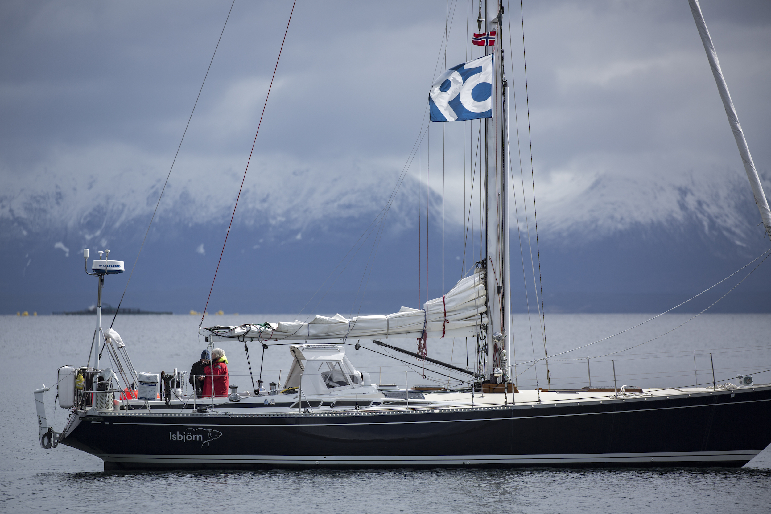 Isbjorn on anchor as we readied for departure towards Svalbard.