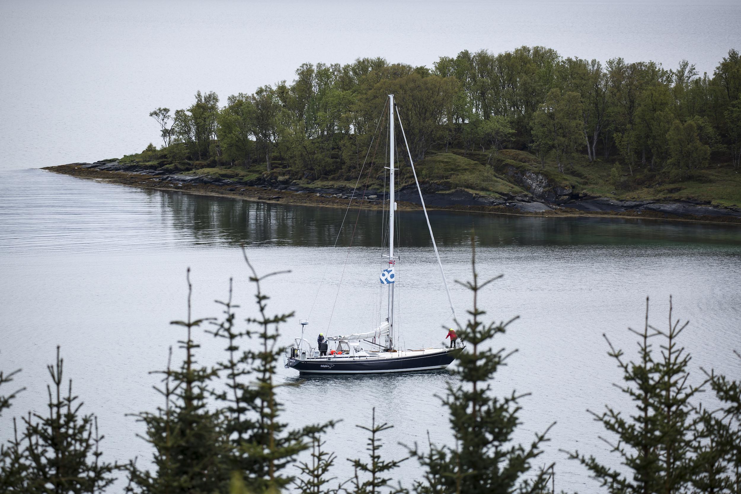 Isbjorn snug at anchor in Finnkroken, preparing for departure.