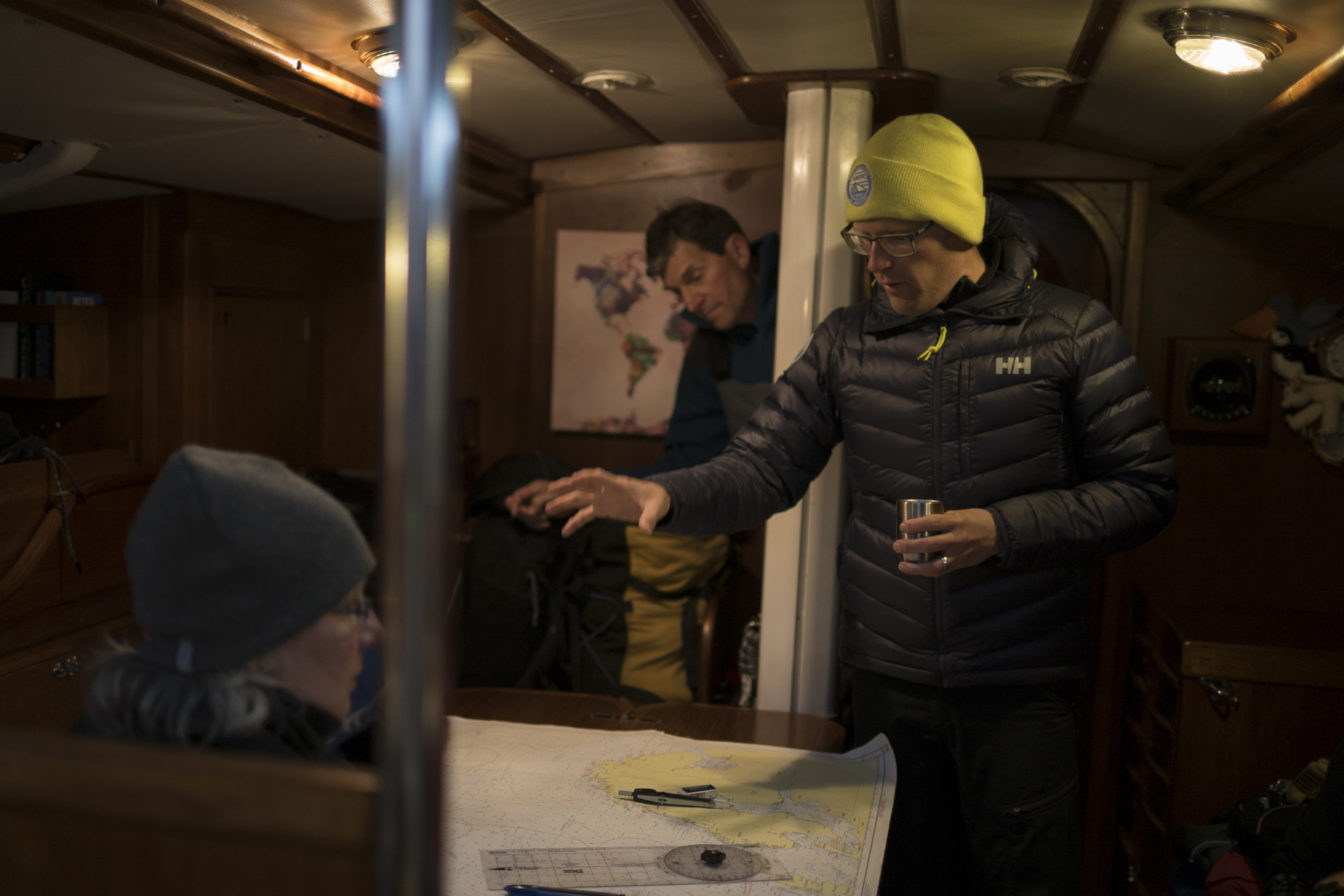 Andy completes the last chart briefing (with coffee!) at midnight before departure.