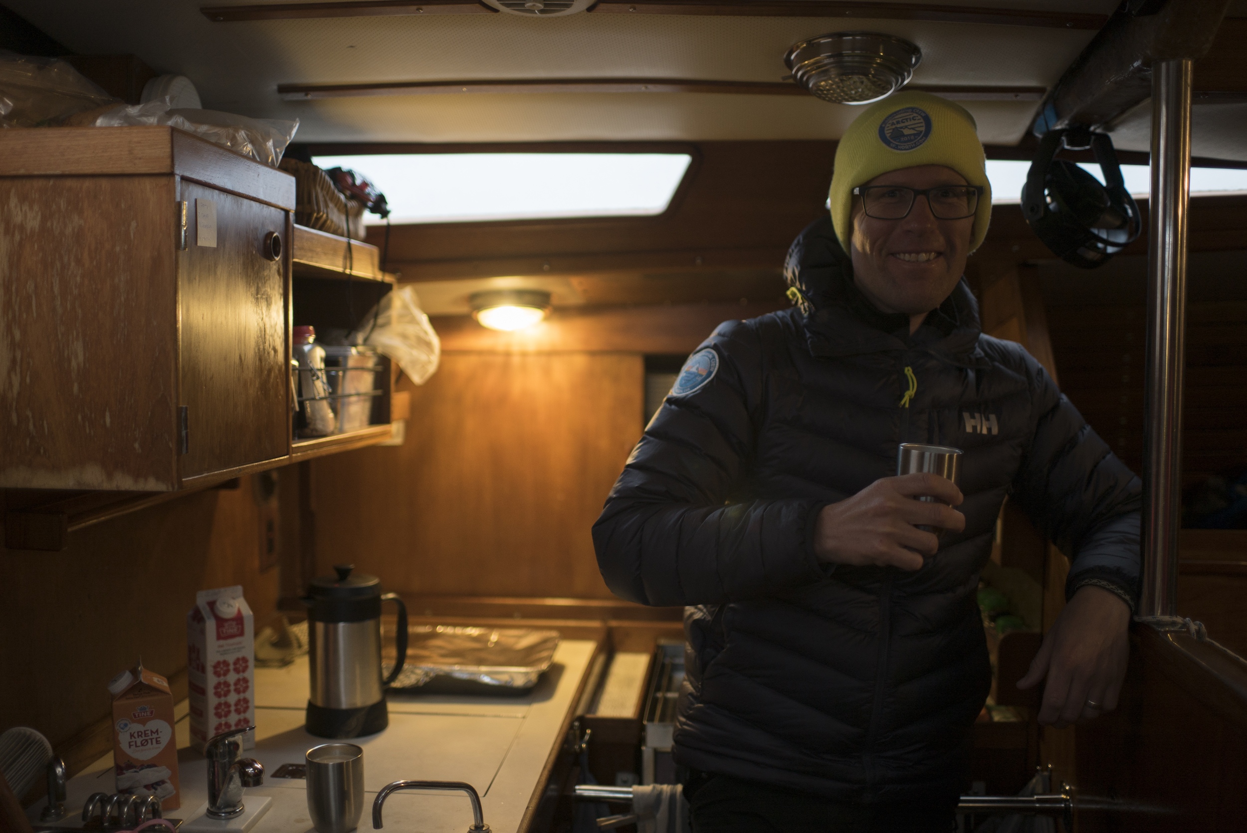 Nervous smile as I sipped my last coffee on anchor as we prepared for departure in Norway.