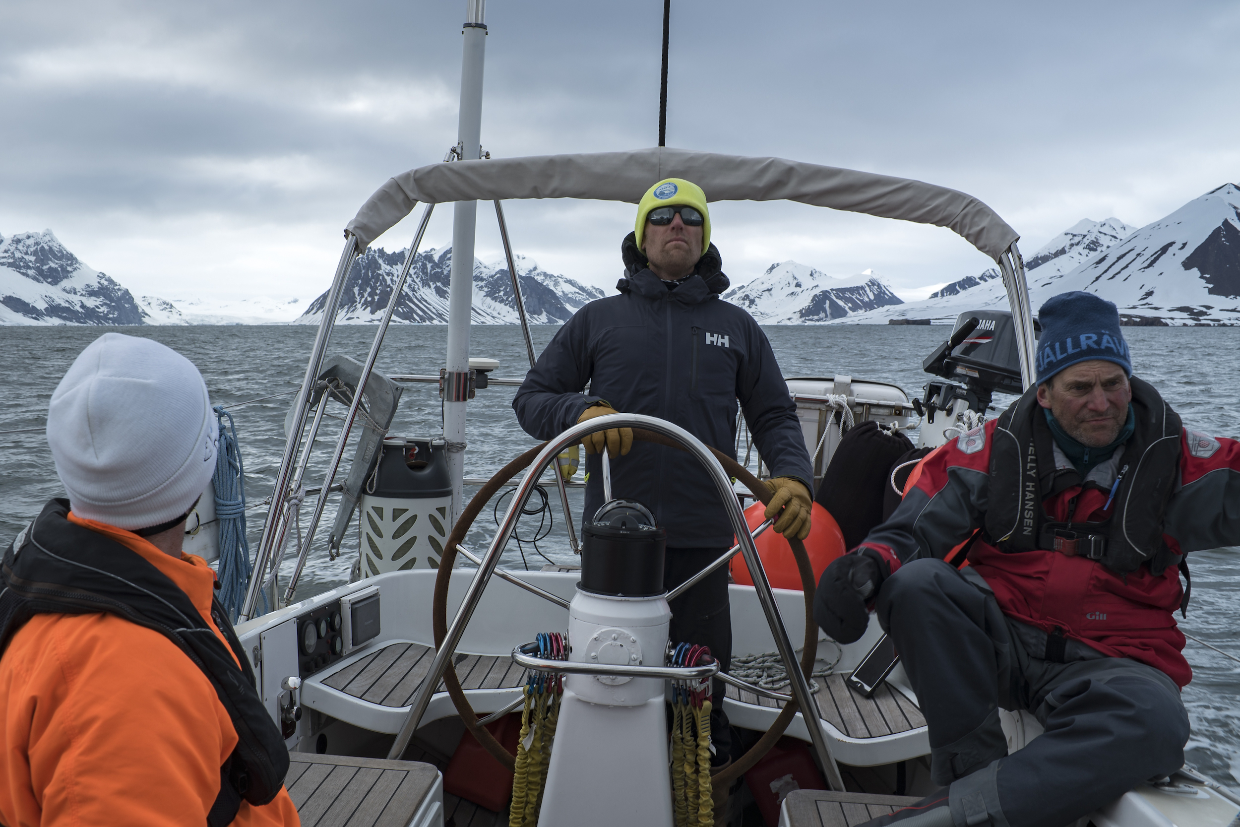 The captain, focused, as we sailed amongst the ice in Burgerbukta.