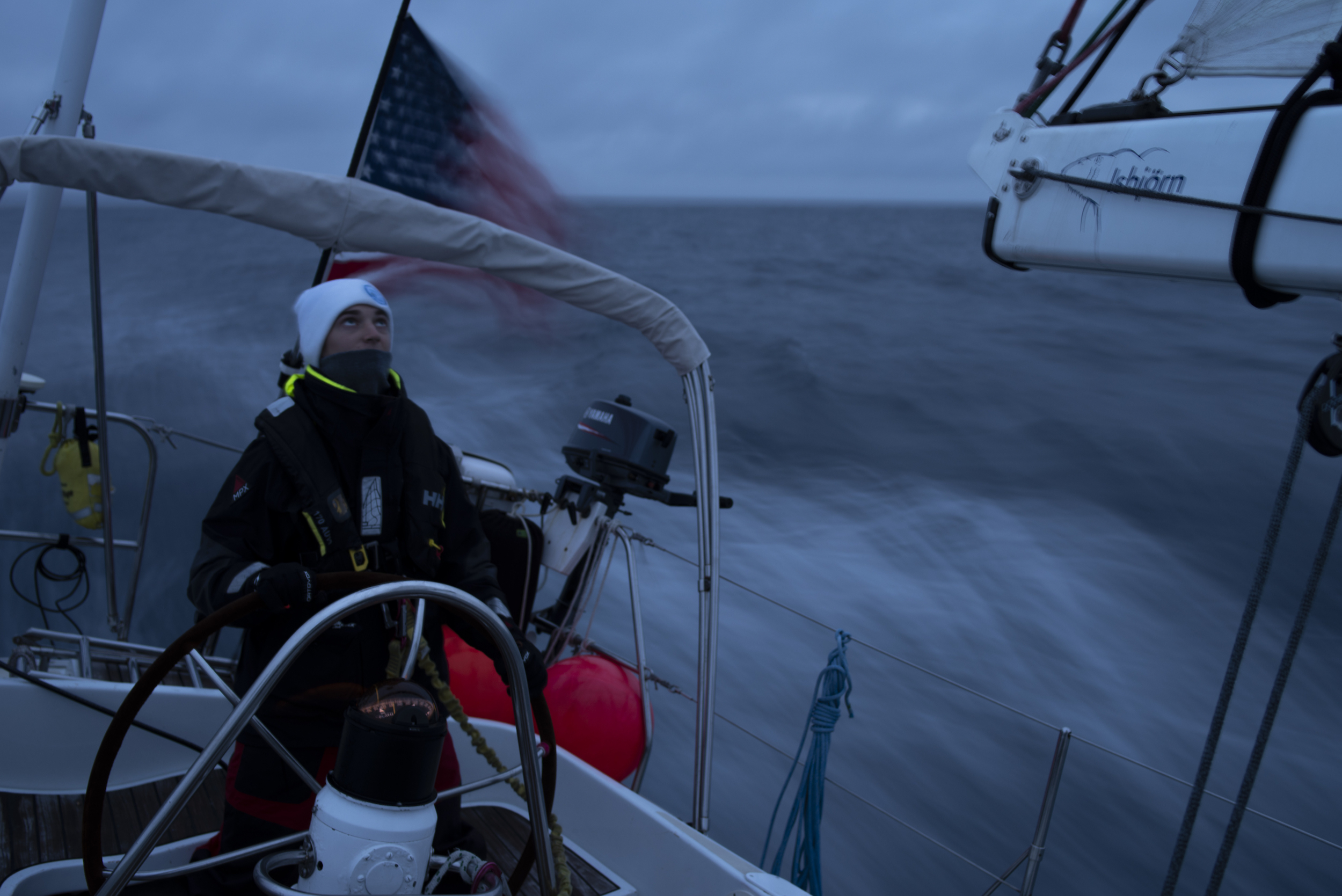 Tino, 16, one of Isbjorn's apprentices, sailing offshore from Iceland-Ireland.