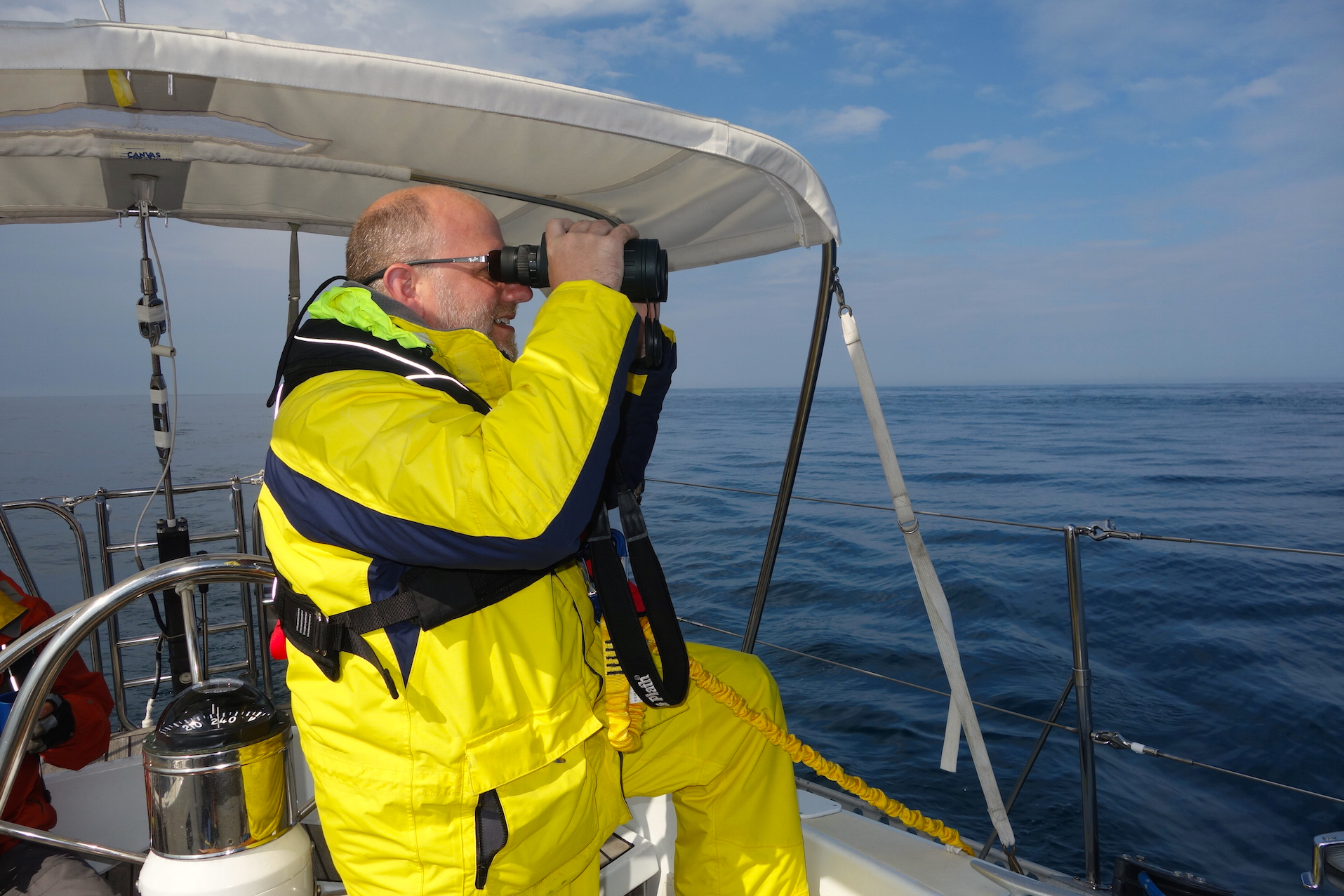 Dan on our first-ever Isbjorn passage to Lunenburg in 2015.