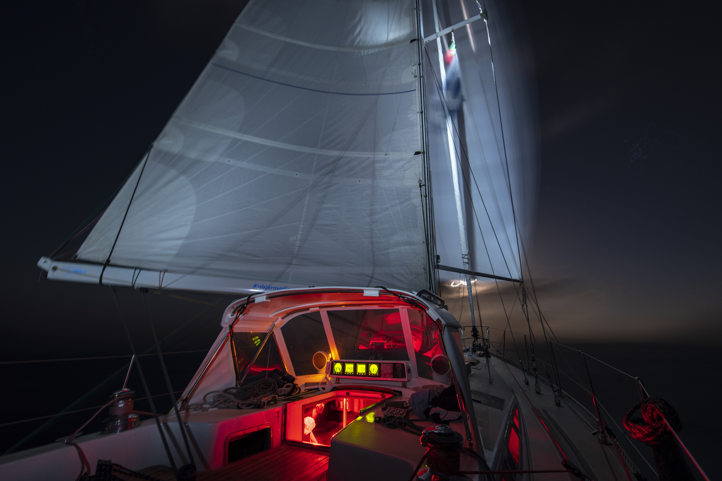 Using the steaming light to illuminate the spinnaker at night.    Andy posted this photo on Facebook, which started a very good discussion on COLREGS offshore, with comments from people like John Rousmaniere, Peter Johnstone, Olly Cotterell (ex-Clipper Race skipper), Mark Baummer (ship's pilot) and more. Click here to follow the thread.