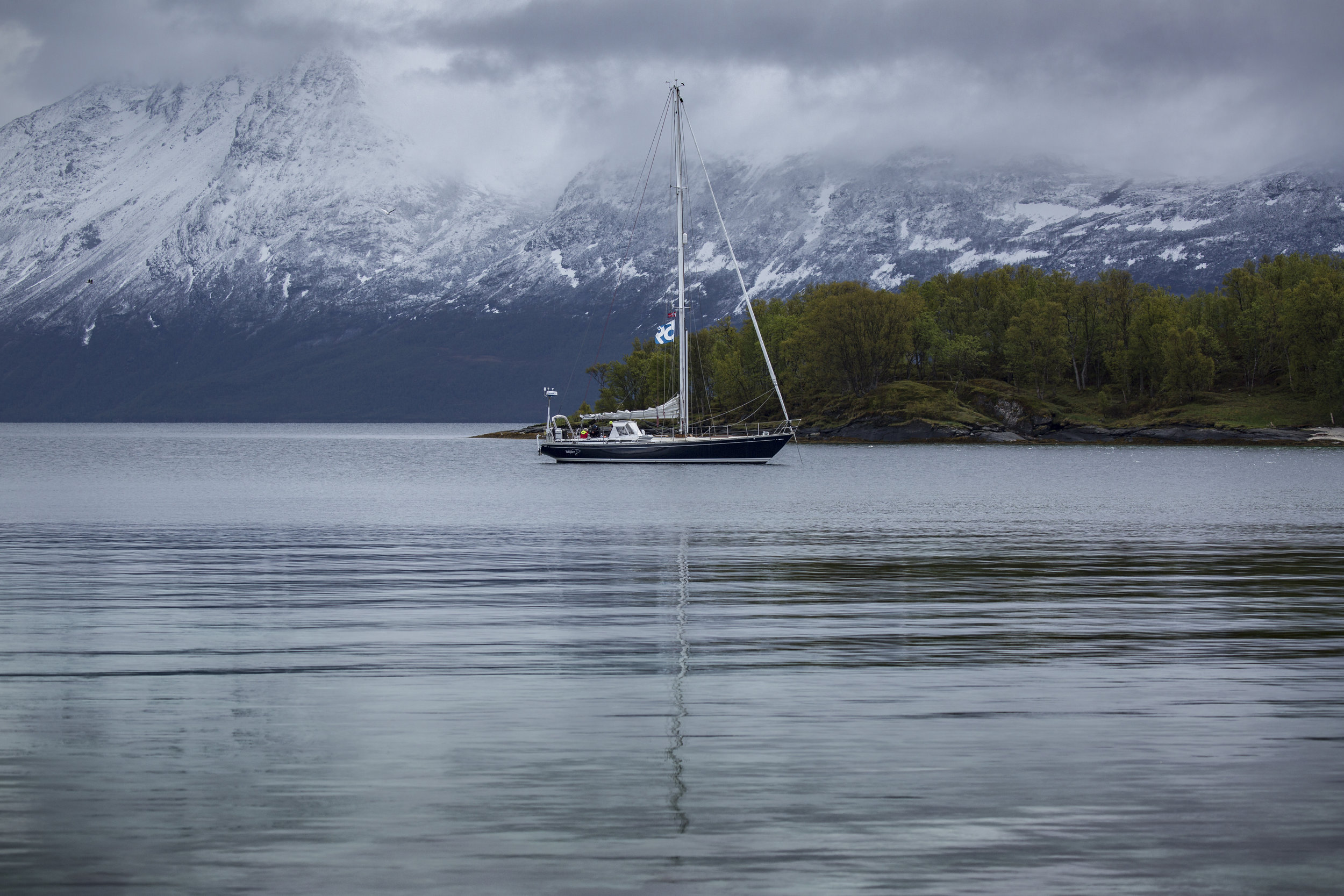 The anchorage in northern Norway, above 70º North, where Mia collected the eagle feathers for me just before the offshore passage to Spitsbergen. They remained on the boat for the next 8,000 miles, before I gave them back to the sea on the morning of my mom's birthday.