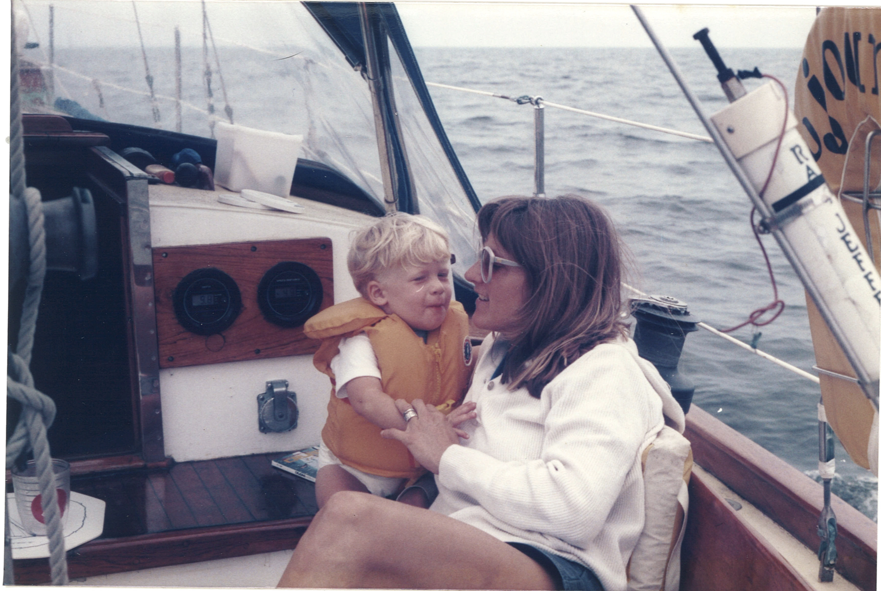 Me and mom on my parents' boat Tzigane, a 37-foot, real salty double-ended ketch that I wish my dad still had!