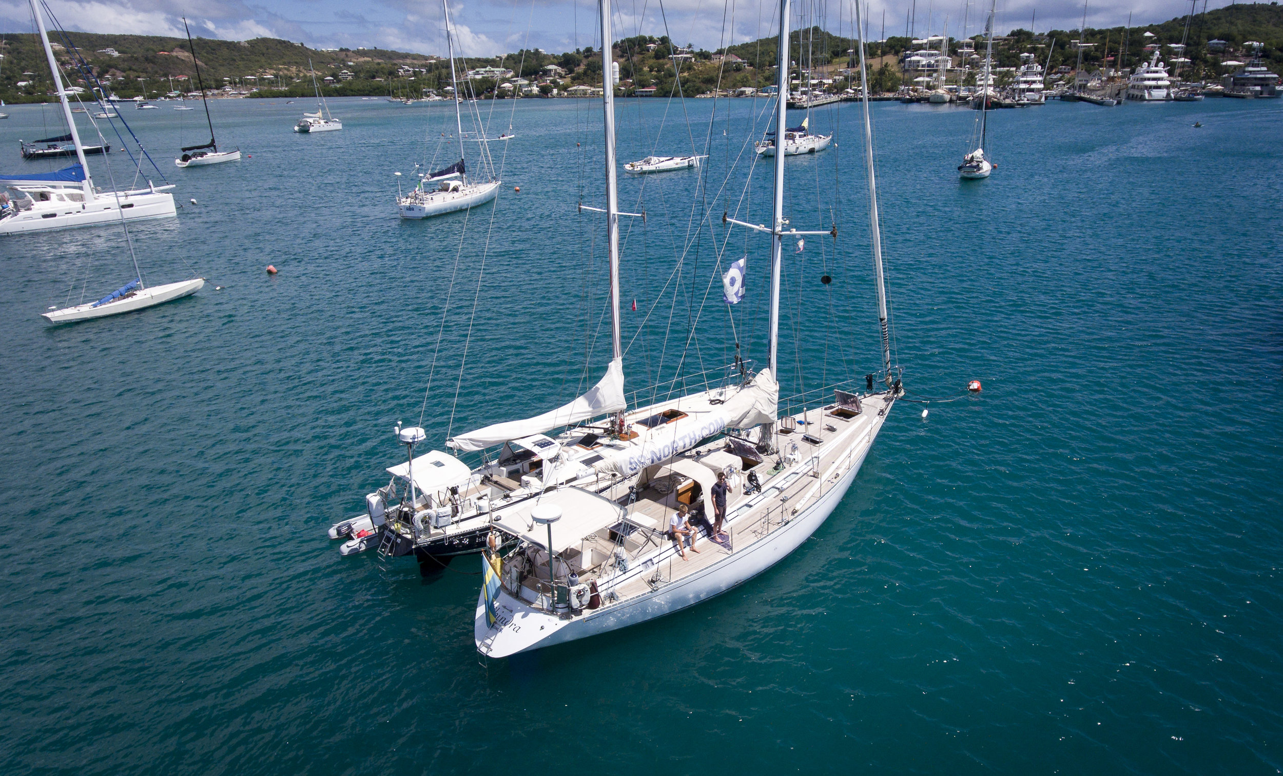 ISBJORN & ICE BEAR, our new Swan 59, together at last in Antigua!