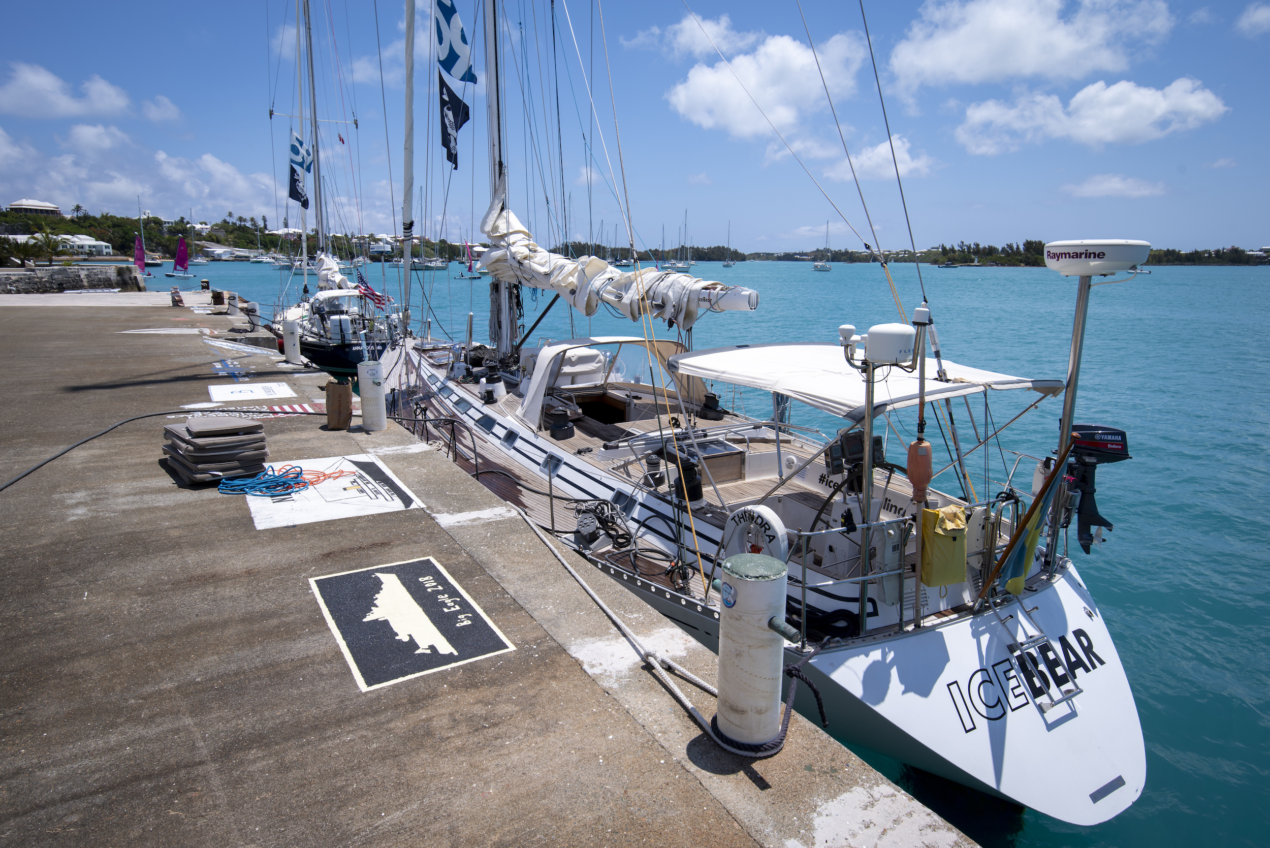 ISBJORN & ICEBEAR together at the dock in Bermuda, t-minus 2 hours til departure. We SHOULD have filled up with diesel on ICEBEAR!